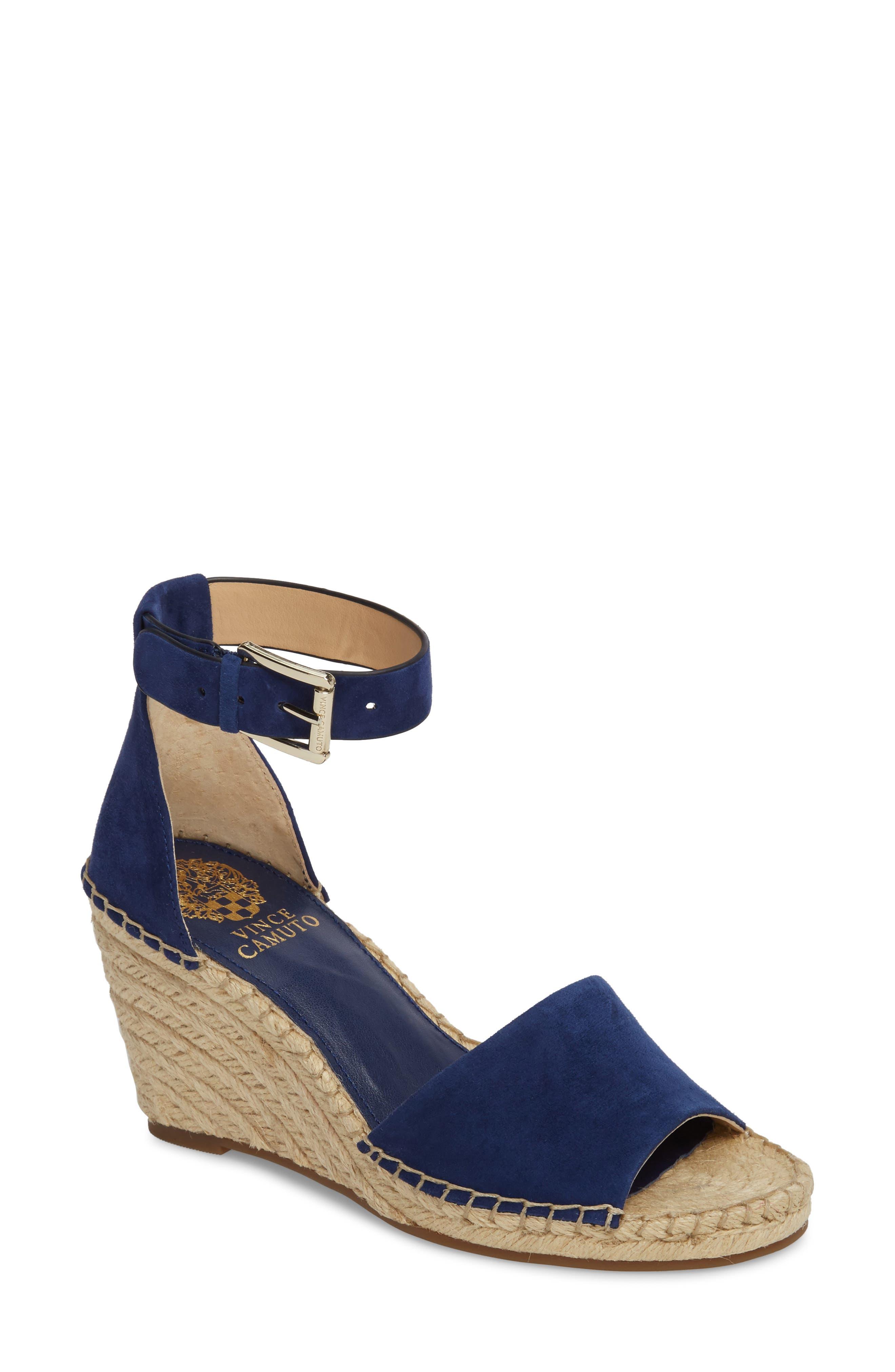 Leera Wedge Sandal,                         Main,                         color, Moody Blues Suede