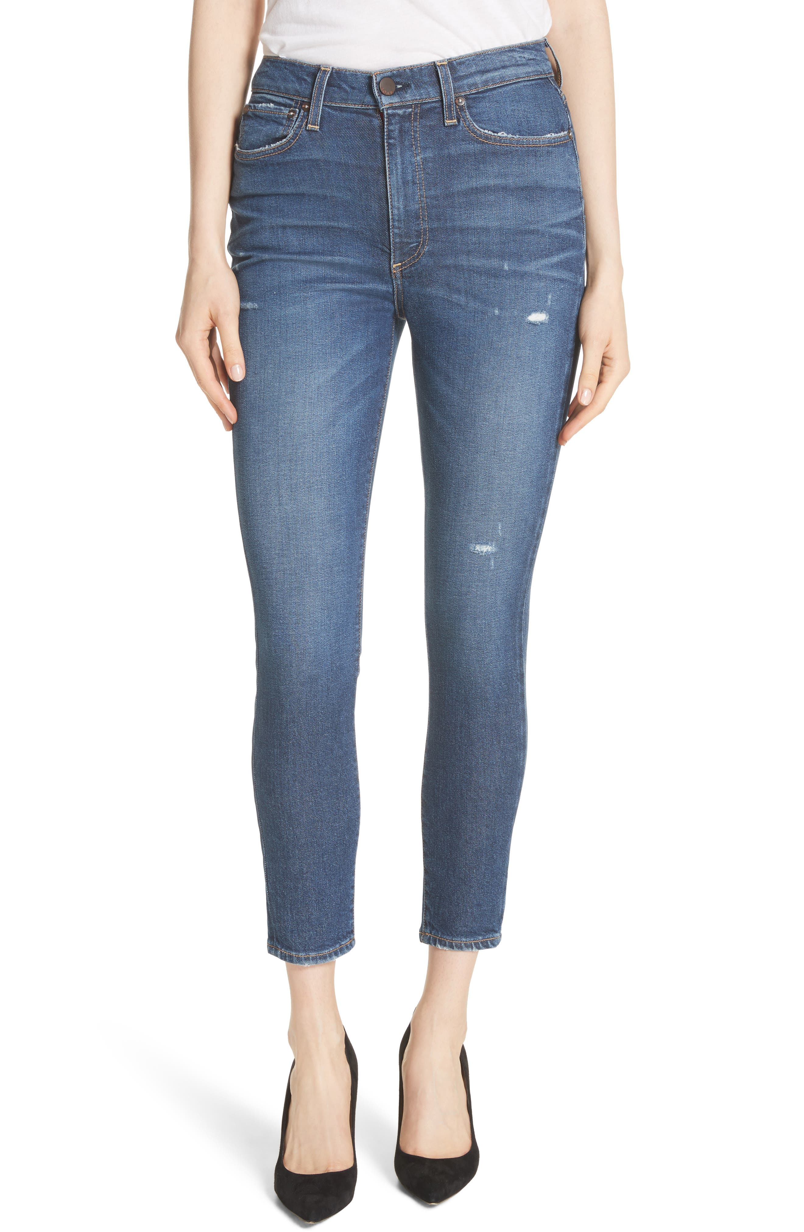 AO.LA Good High Waist Ankle Skinny Jeans,                         Main,                         color, Born To Run