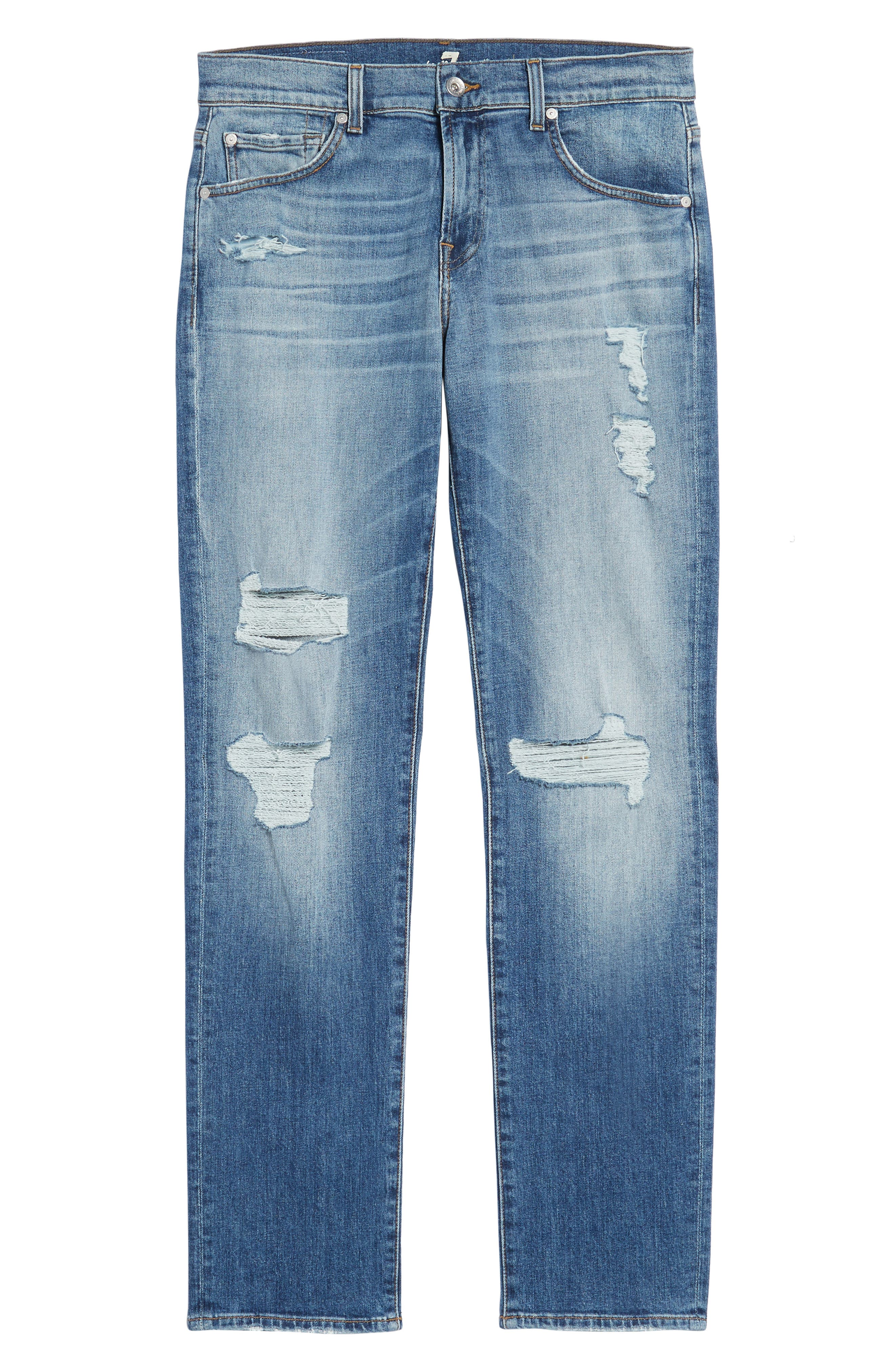 The Straight Slim Straight Leg Jeans,                             Alternate thumbnail 6, color,                             Free Agent Destroyed