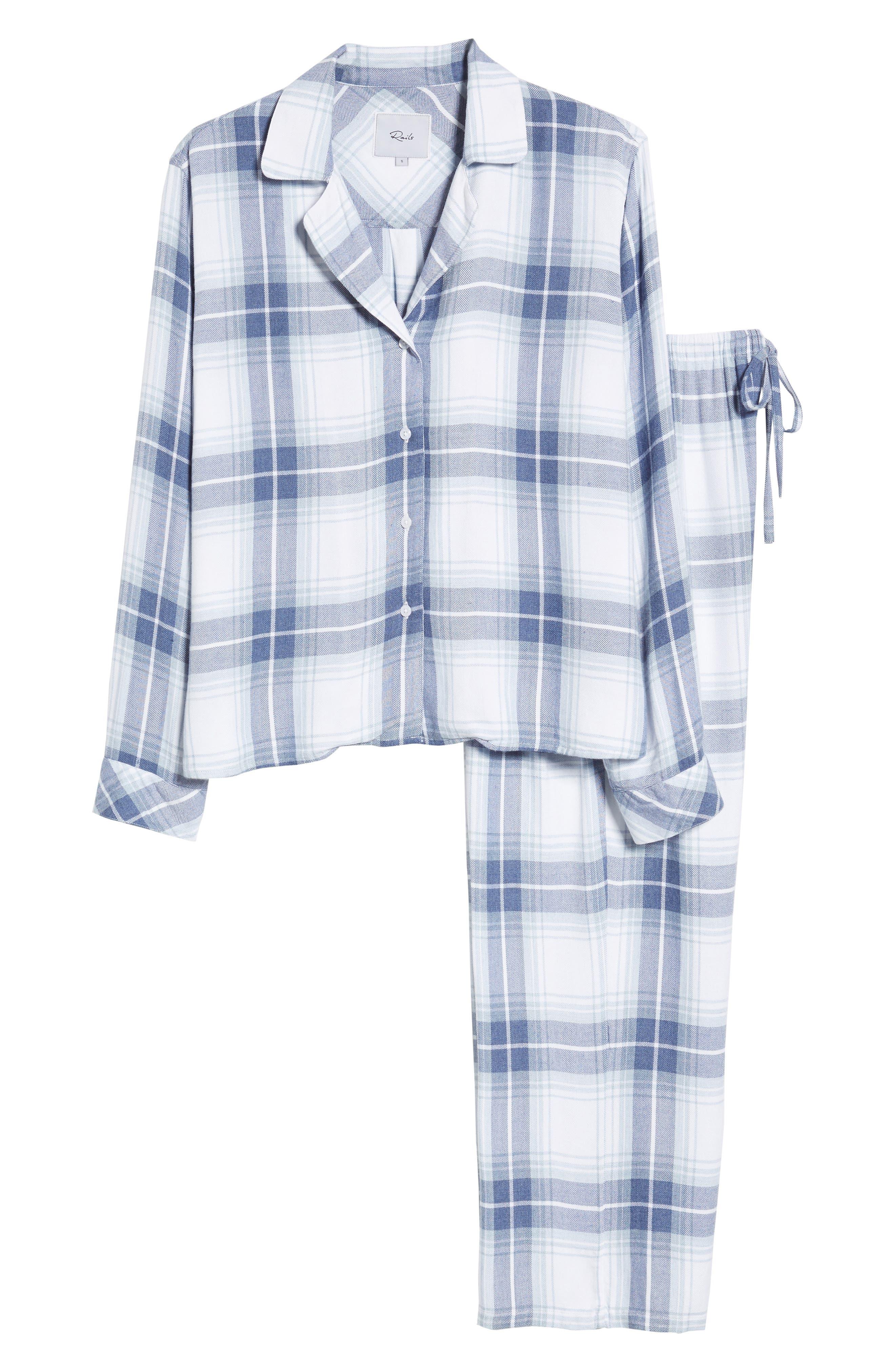 Plaid Pajamas,                             Alternate thumbnail 4, color,                             Pacific Sky White
