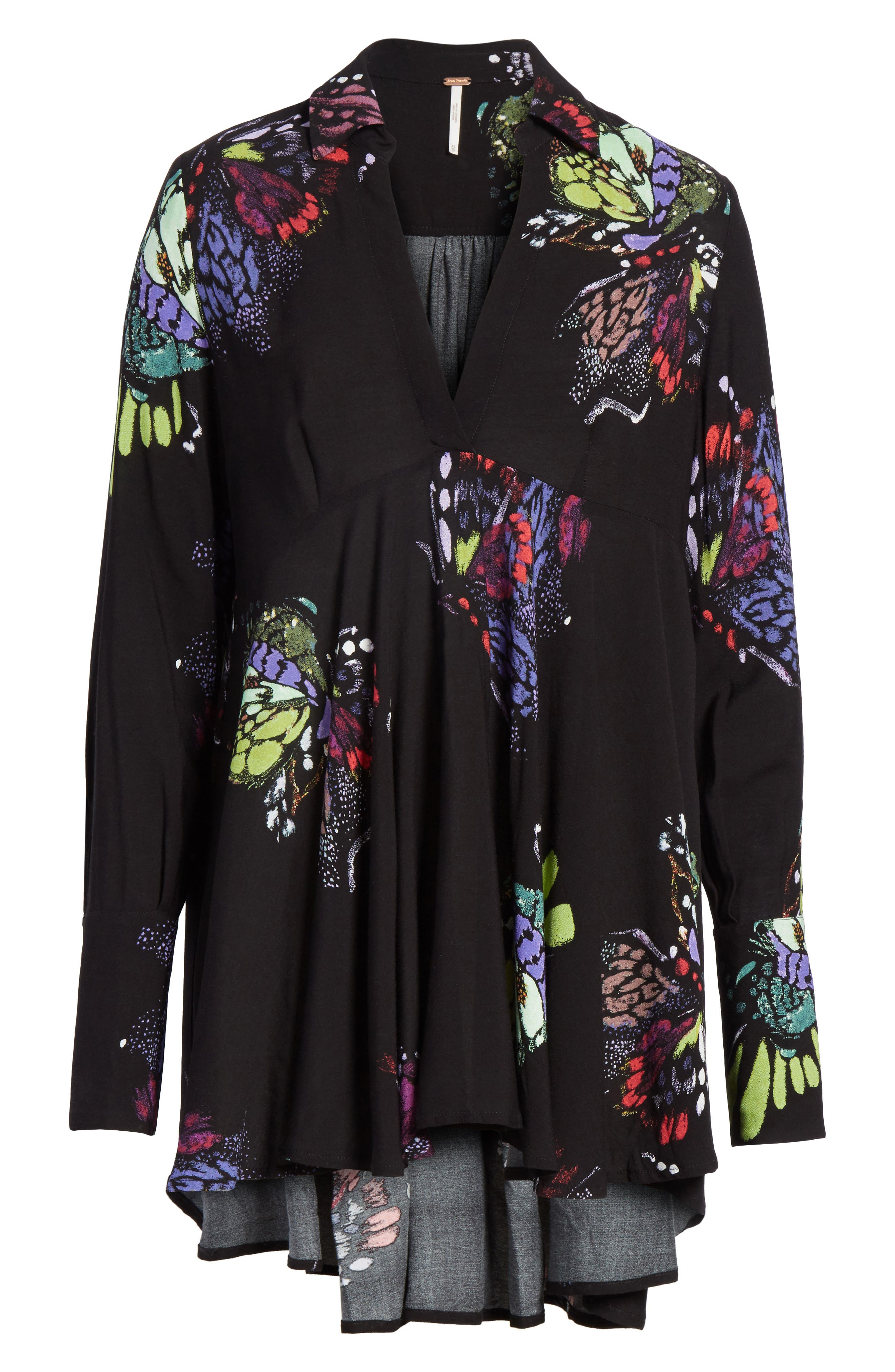 Field of Butterflies Tunic,                             Alternate thumbnail 6, color,                             Black