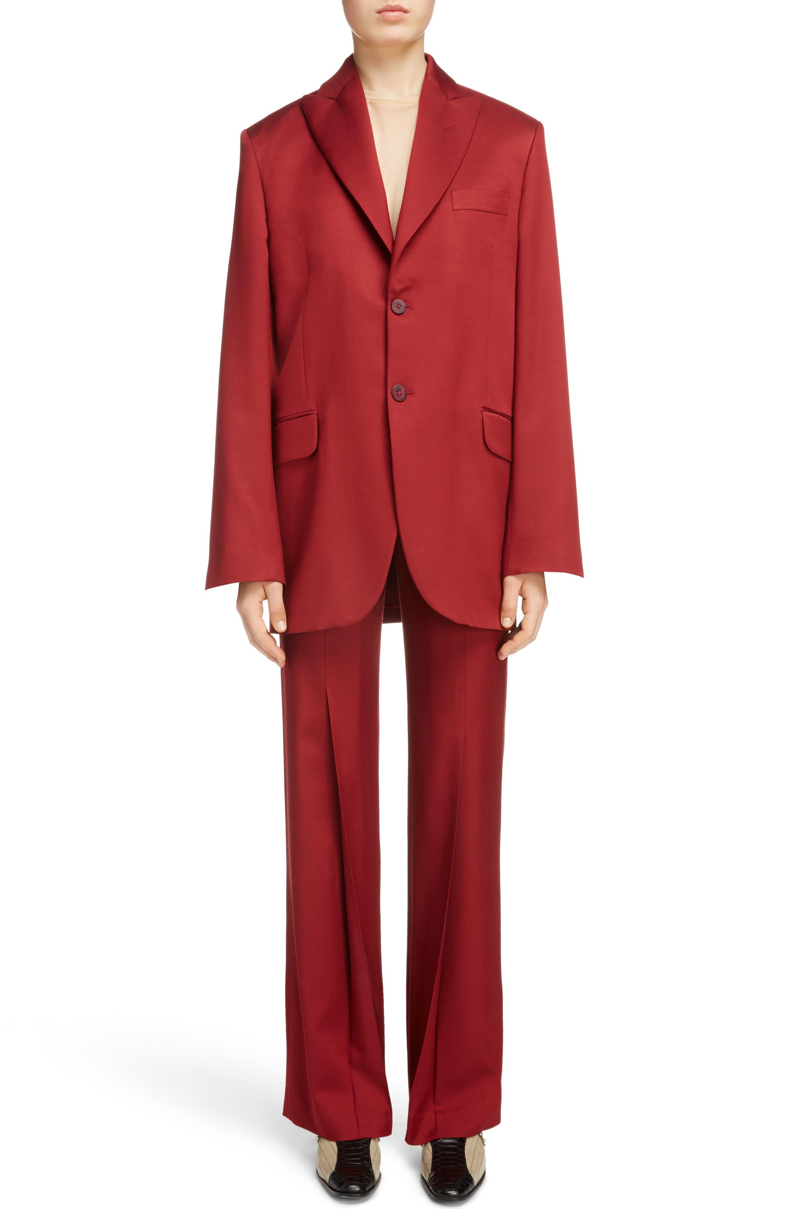 Jaria Suit Jacket,                             Alternate thumbnail 7, color,                             Crimson Red