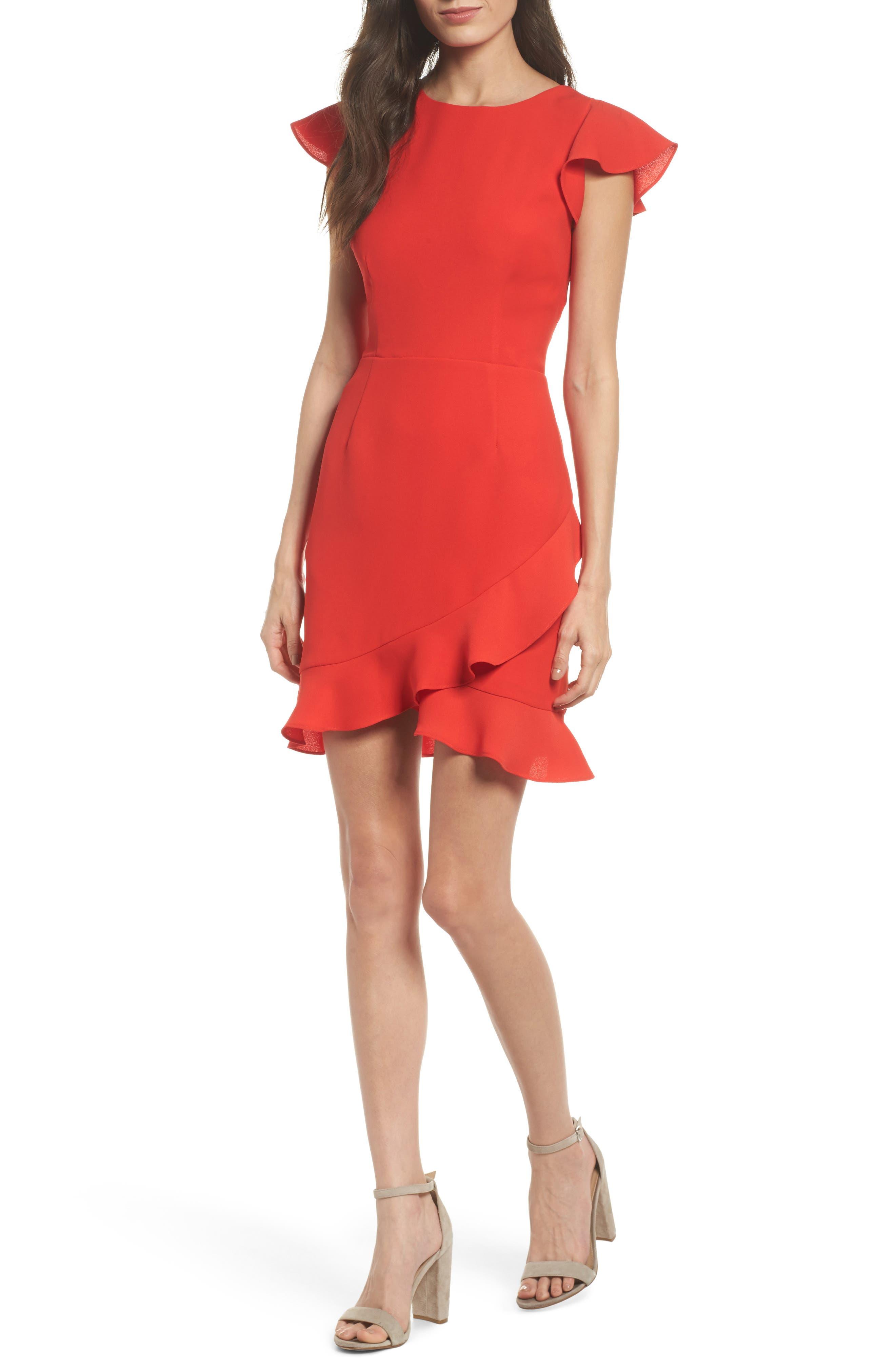 Ruffle Edge Sheath Dress,                             Main thumbnail 1, color,                             Coral