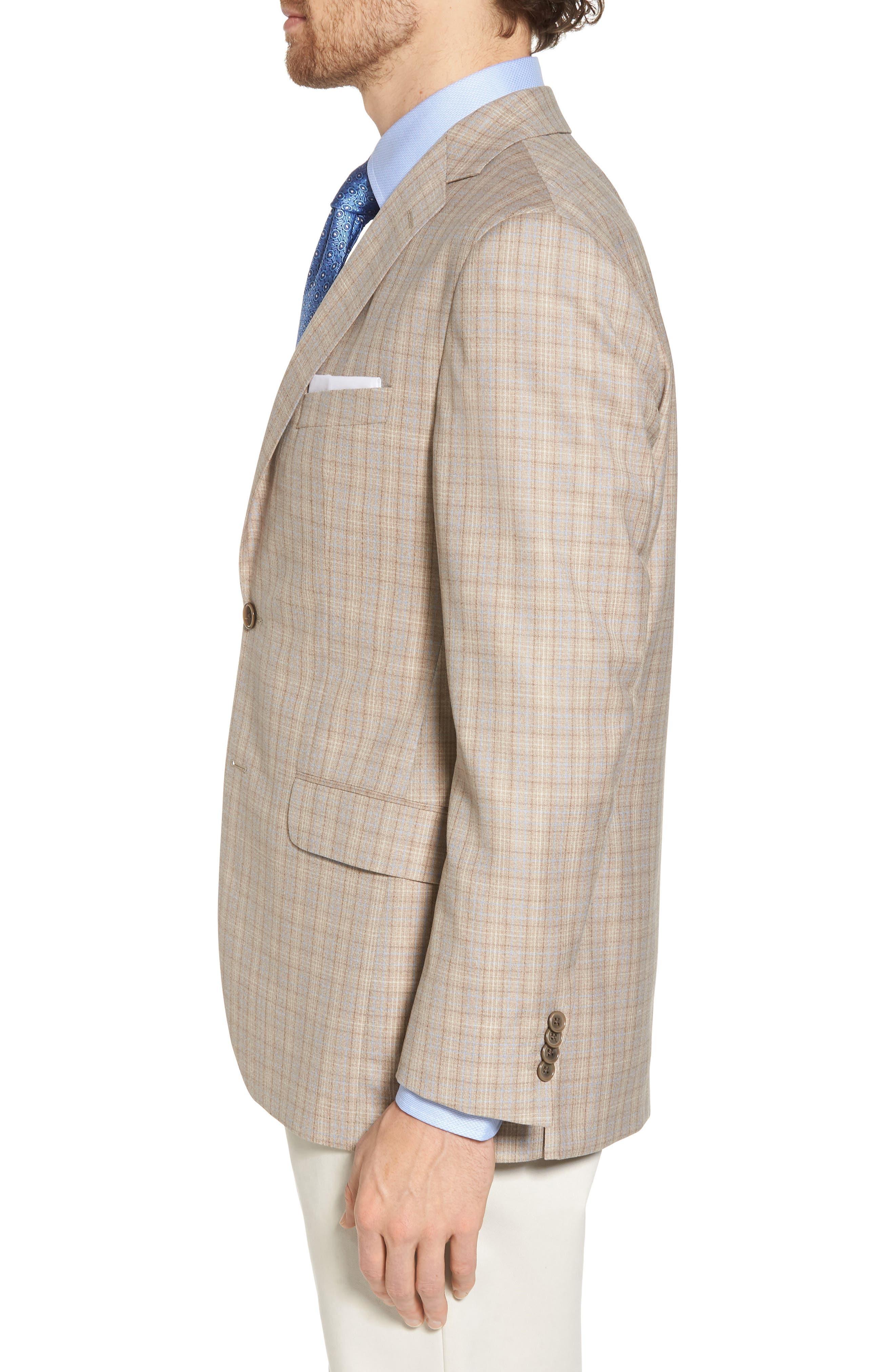 Arnold Classic Fit Plaid Wool Sport Coat,                             Alternate thumbnail 3, color,                             Tan