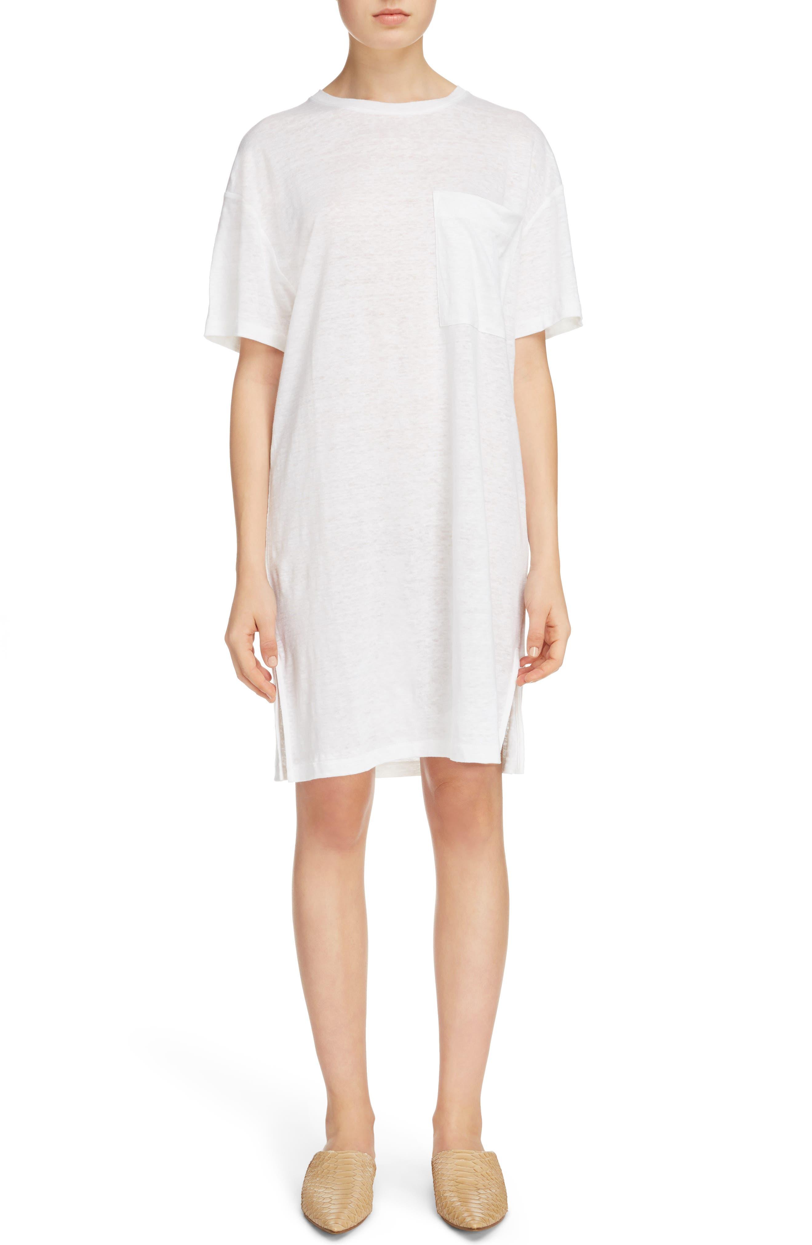 Saga Linen T-Shirt Dress,                             Main thumbnail 1, color,                             Optic White