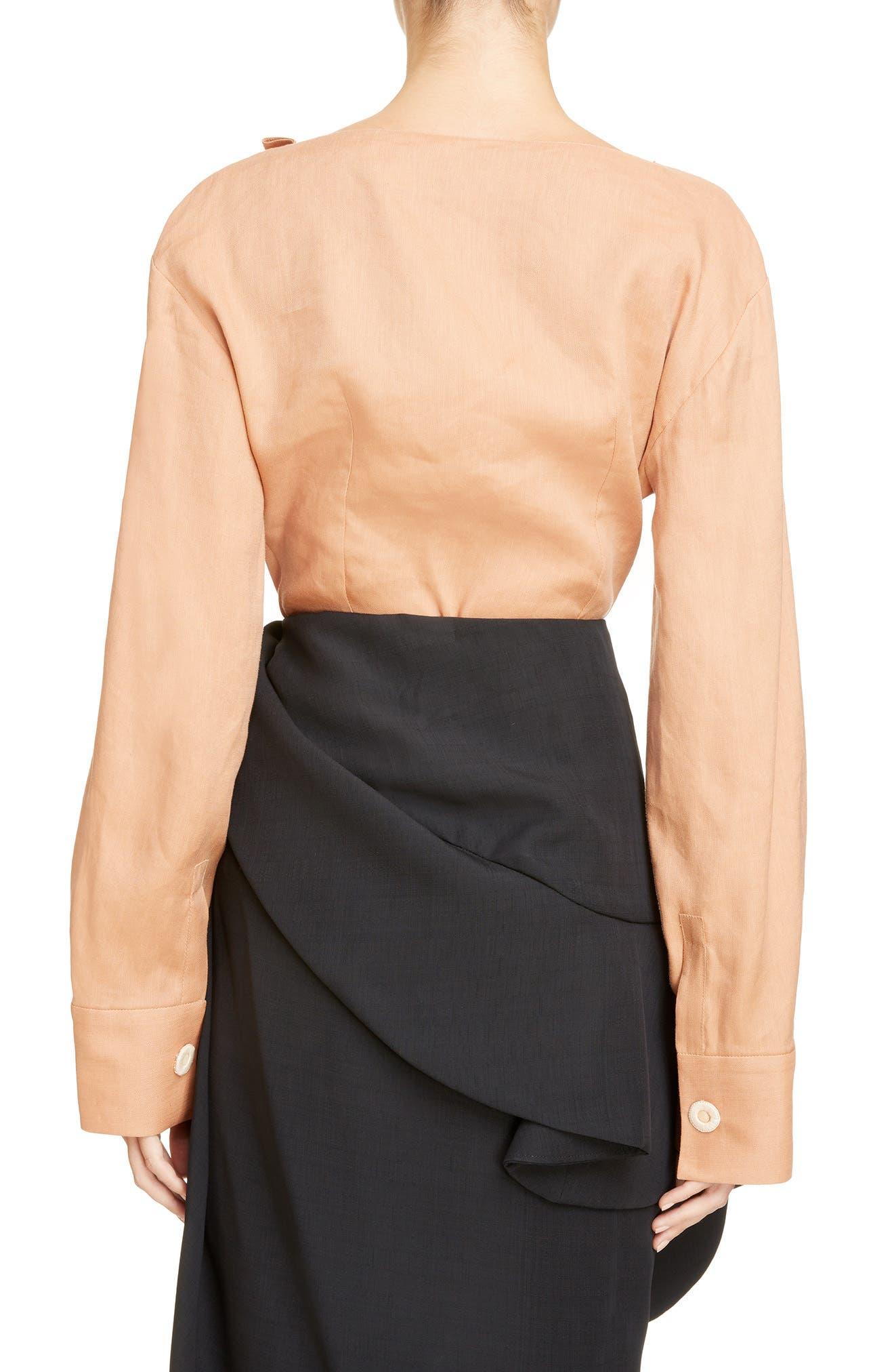 Alternate Image 2  - Jacquemus la Chemise Pleated Cuff Linen Blend Blouse
