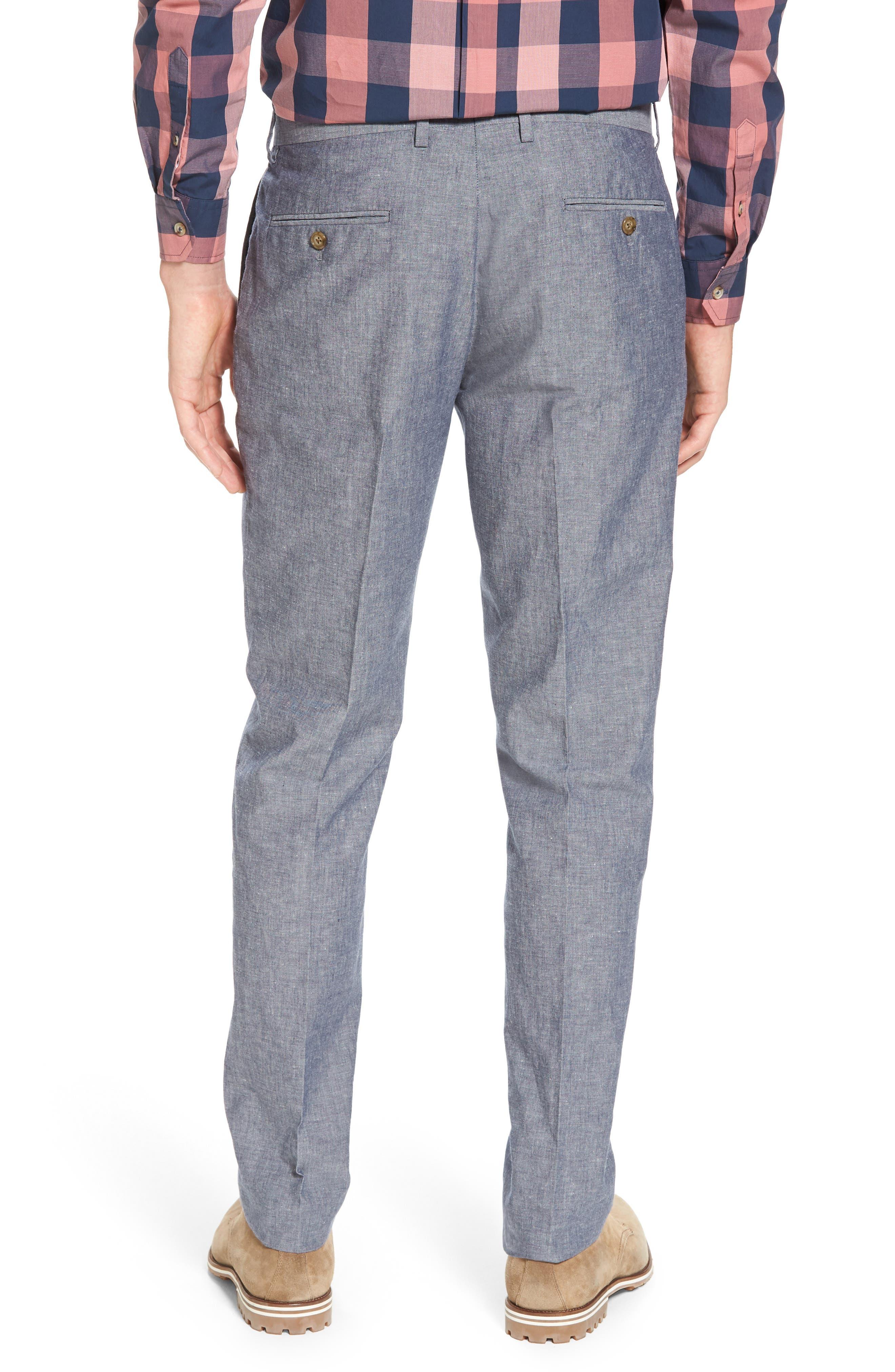 Ludlow Trim Fit Cotton & Linen Suit Pants,                             Alternate thumbnail 2, color,                             Deep Water Blue