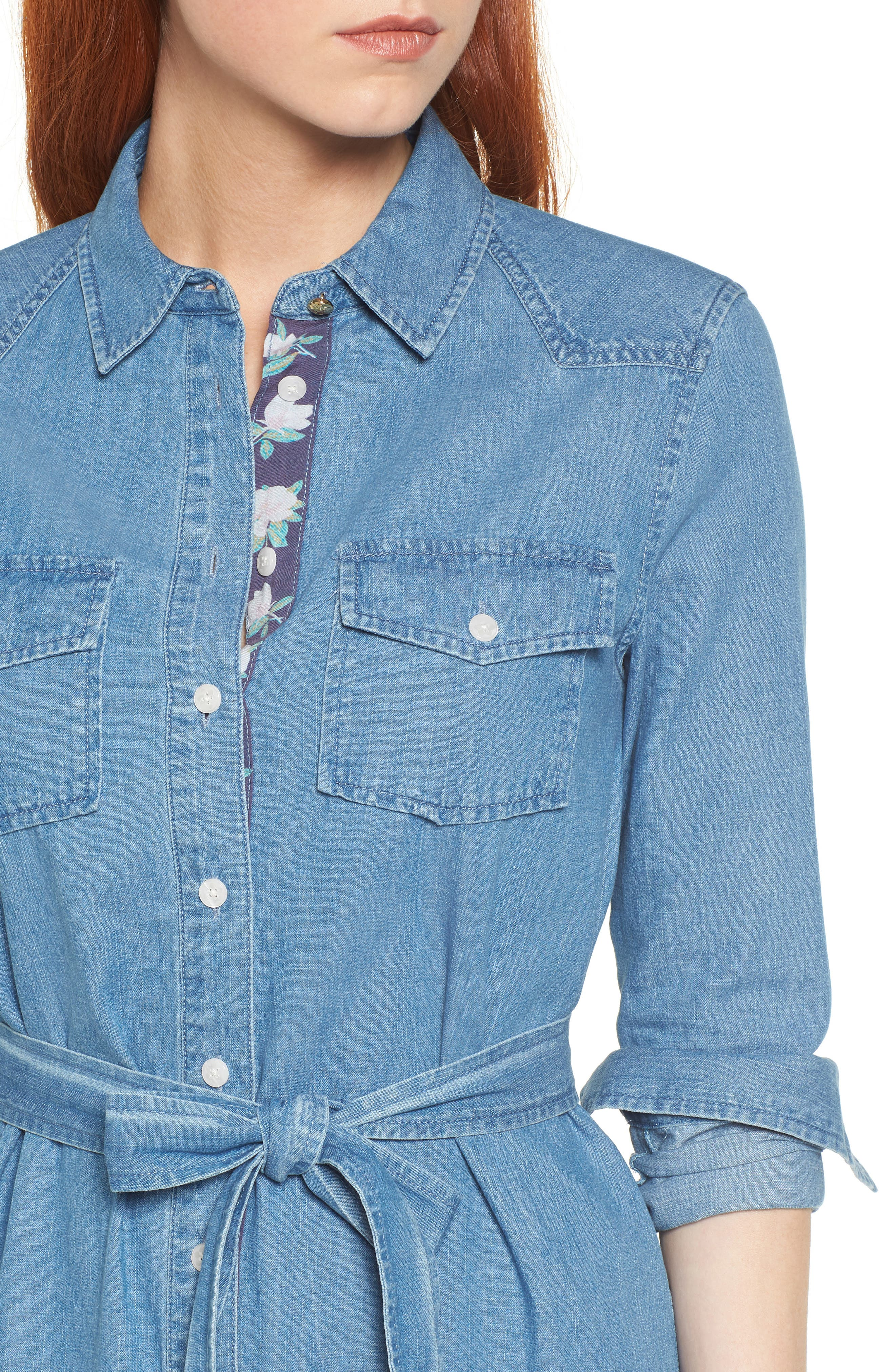 Casual Belted Chambray Shirtdress,                             Alternate thumbnail 4, color,                             Chambray