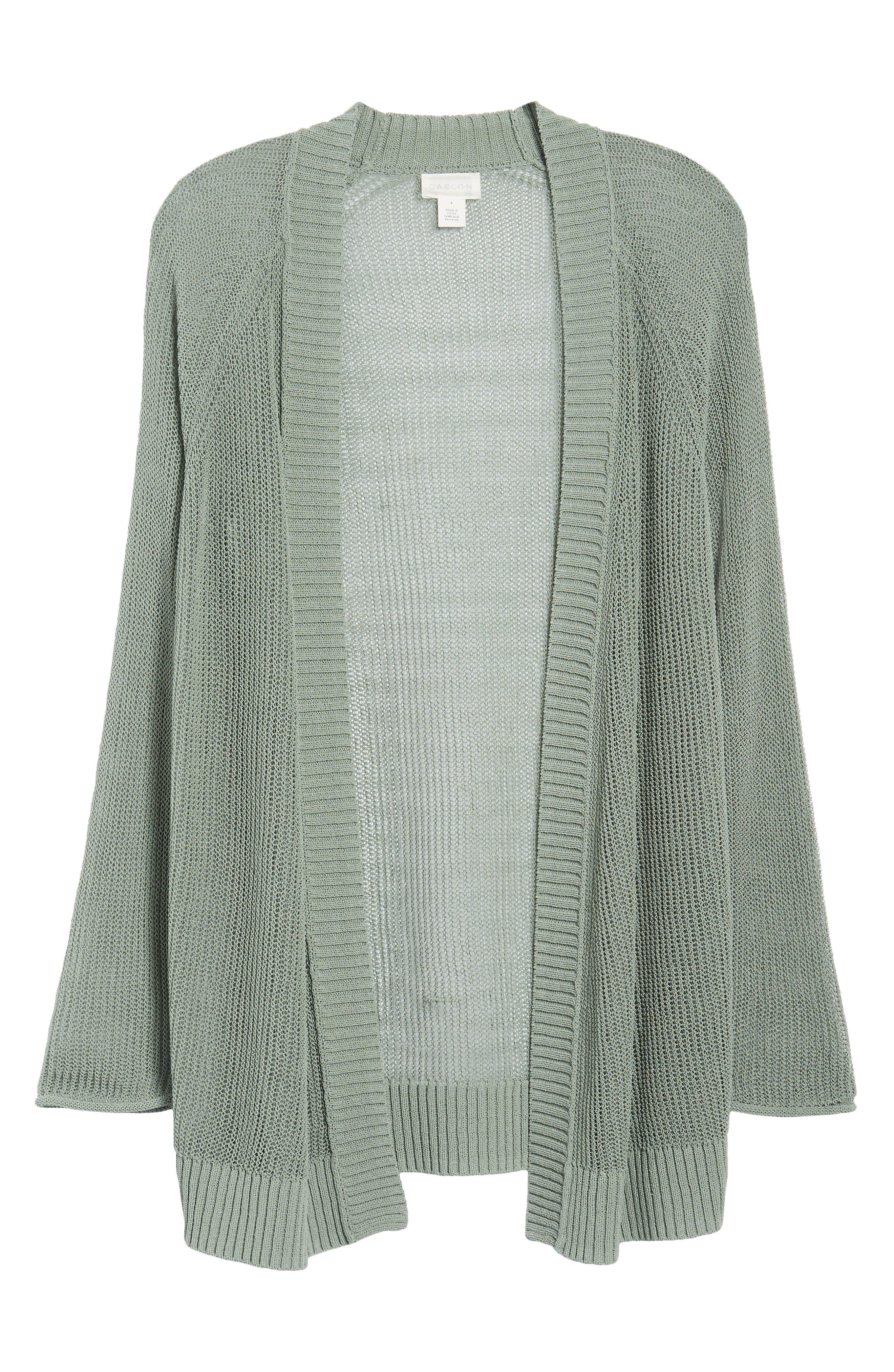 Open Cotton Blend Cardigan,                             Alternate thumbnail 6, color,                             Green Lilypad