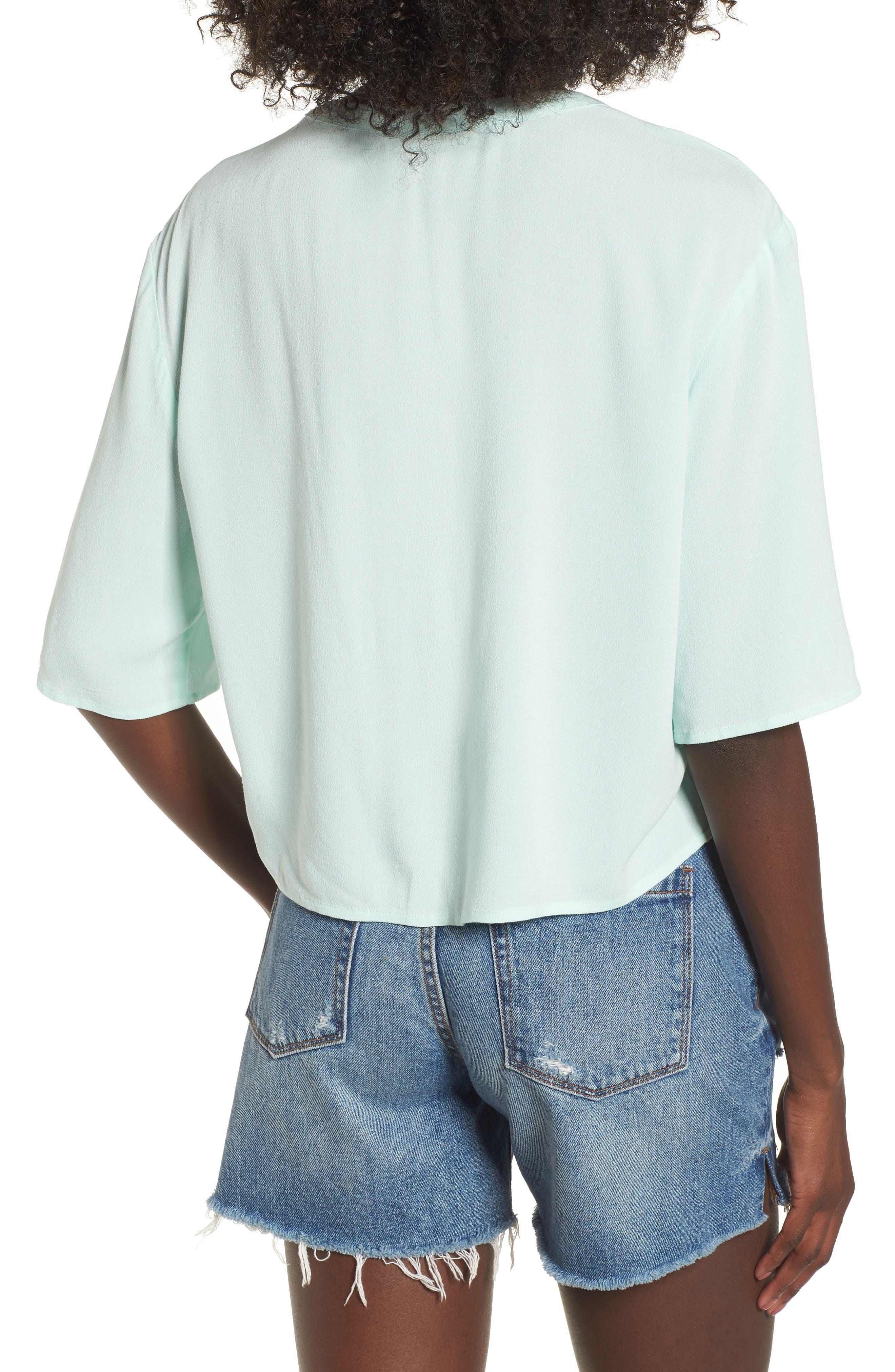 Crepe Button Front Shirt,                             Alternate thumbnail 2, color,                             Mint