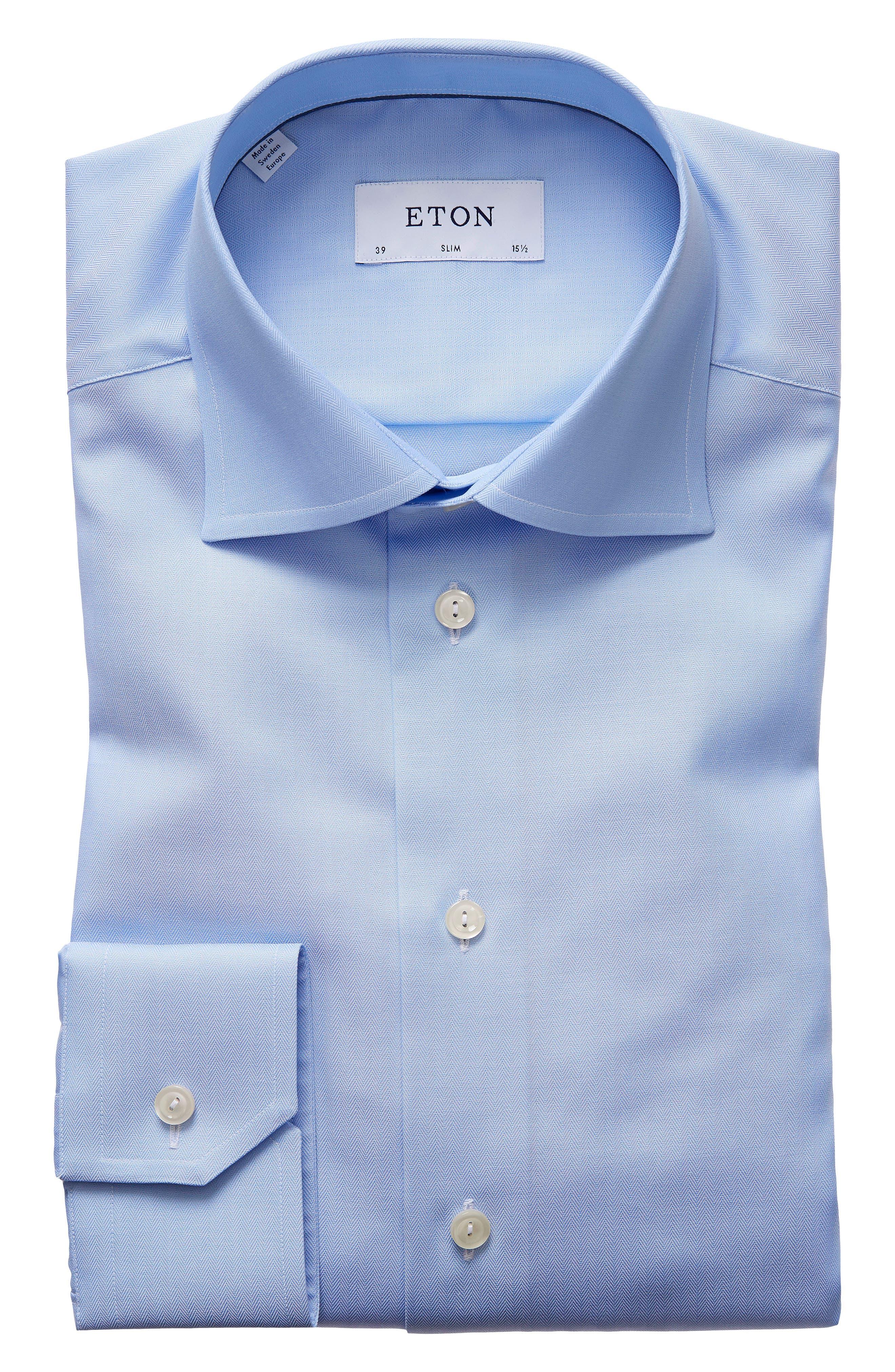 Slim Fit Herringbone Dress Shirt,                             Main thumbnail 1, color,                             Light Blue