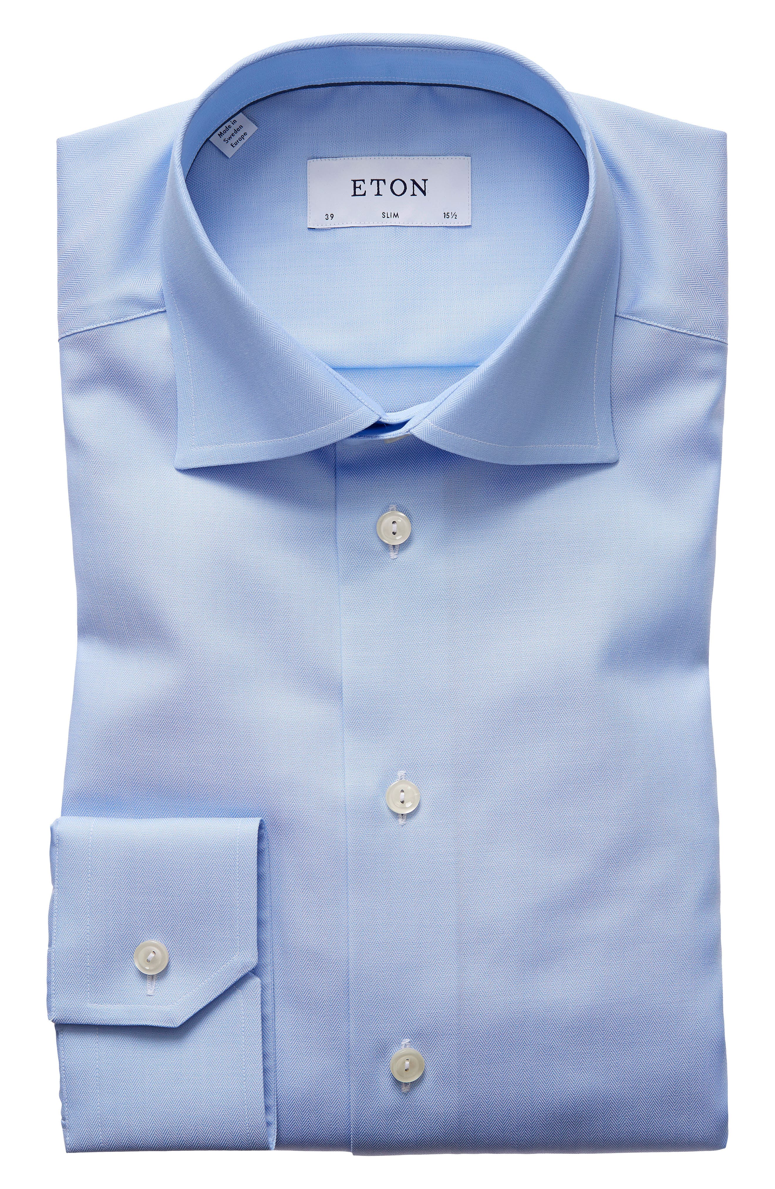 Slim Fit Herringbone Dress Shirt,                         Main,                         color, Light Blue