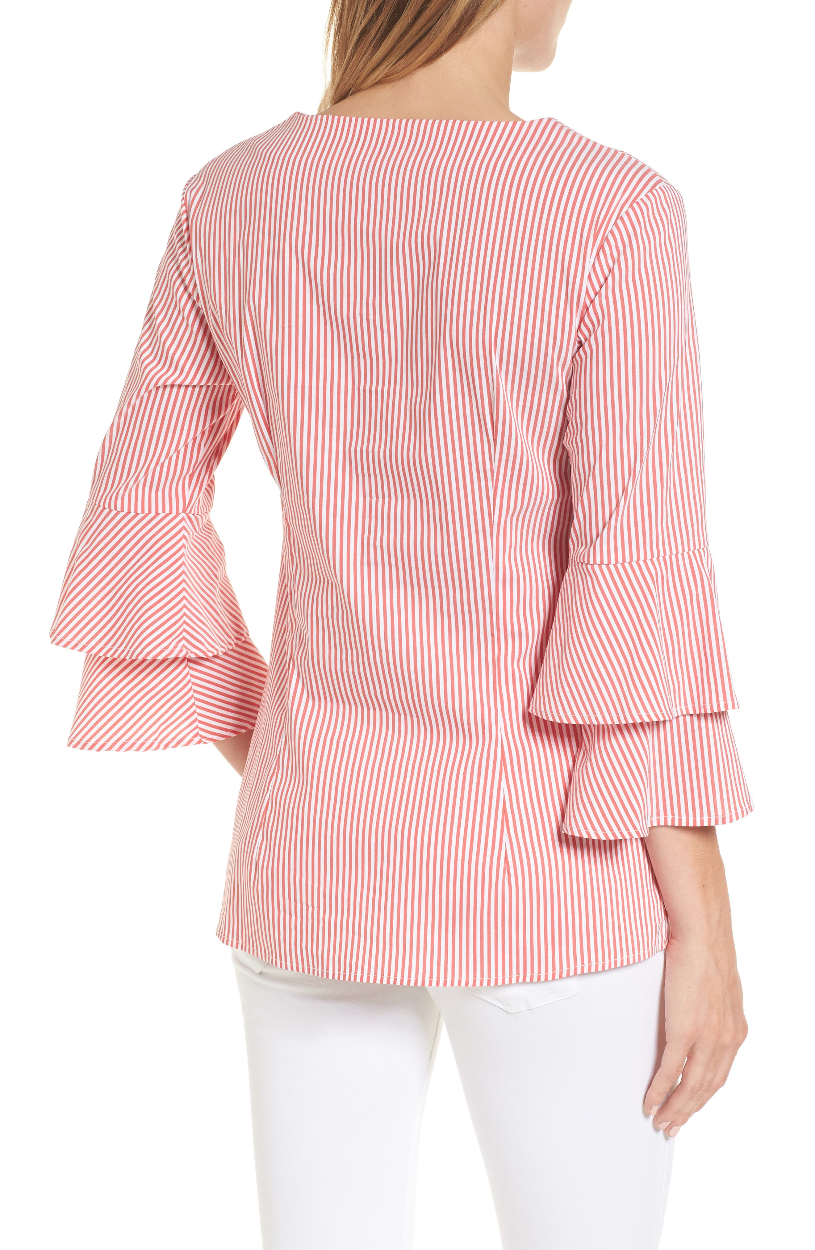 Adrianna Maternity Top,                             Alternate thumbnail 2, color,                             Red/White Stripe