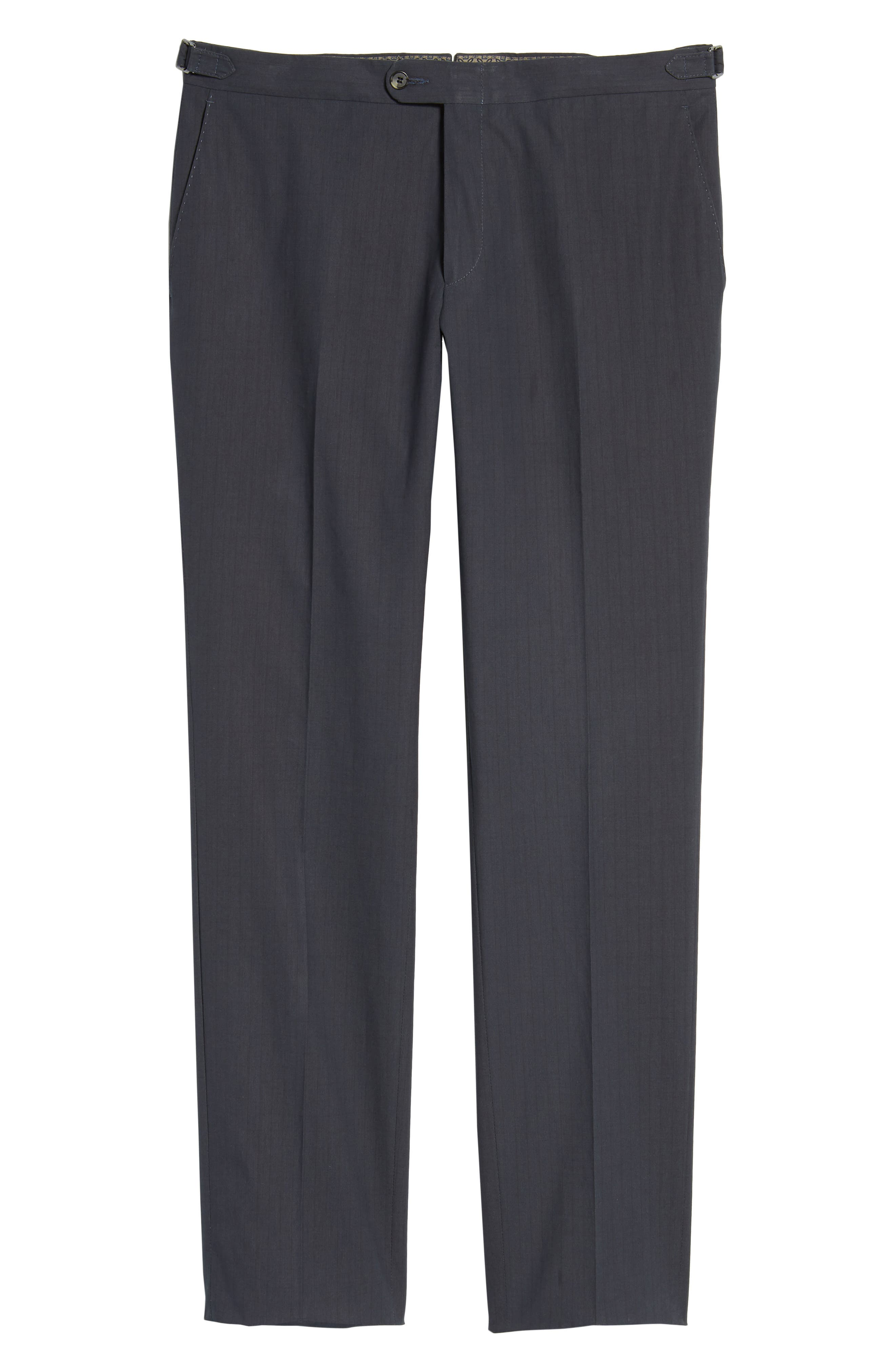 Flat Front Stripe Stretch Cotton Trousers,                             Alternate thumbnail 6, color,                             Navy