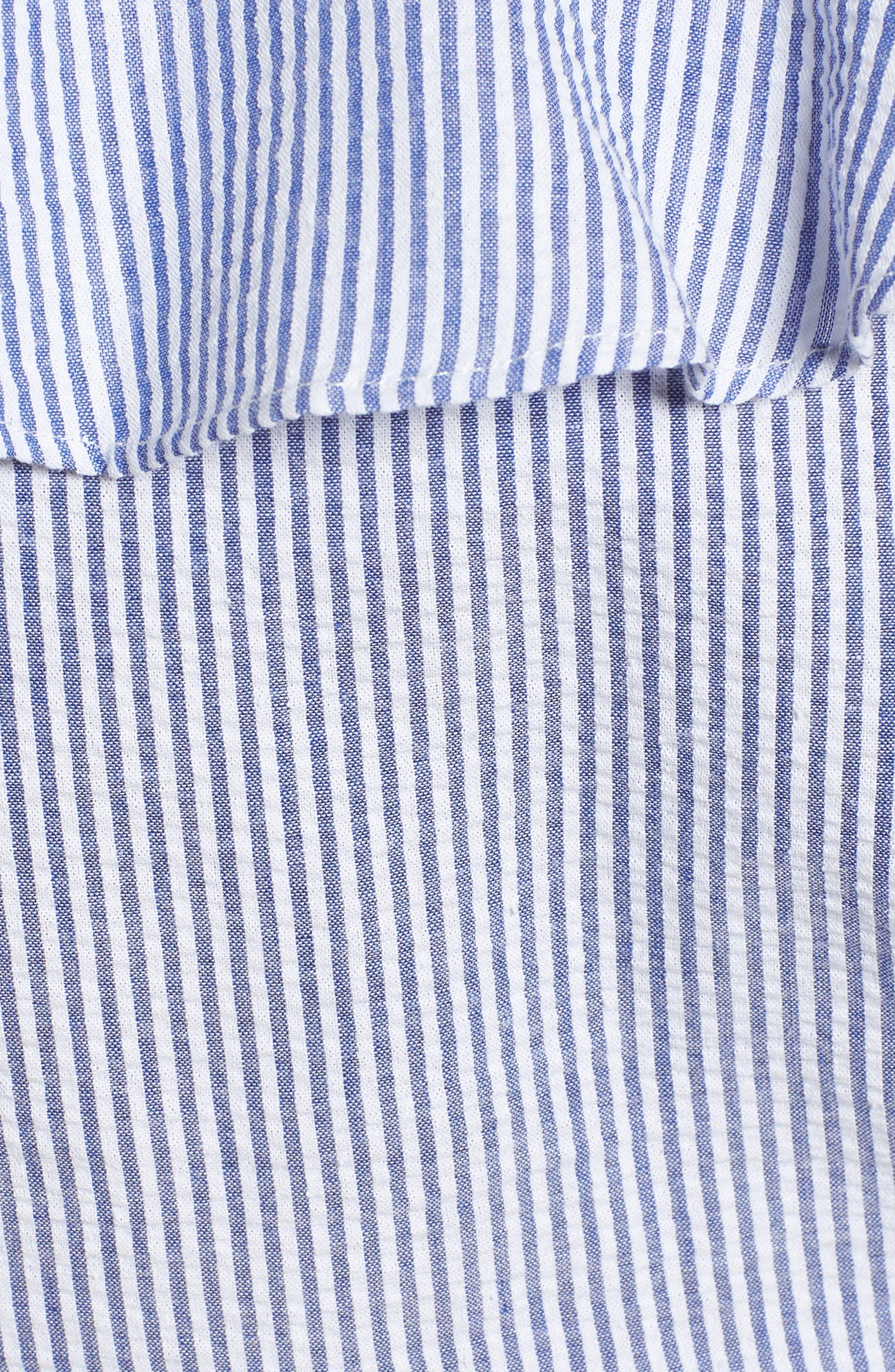 Ruffle Seersucker Crop Top,                             Alternate thumbnail 5, color,                             Indigo/ White Pucker Stripe
