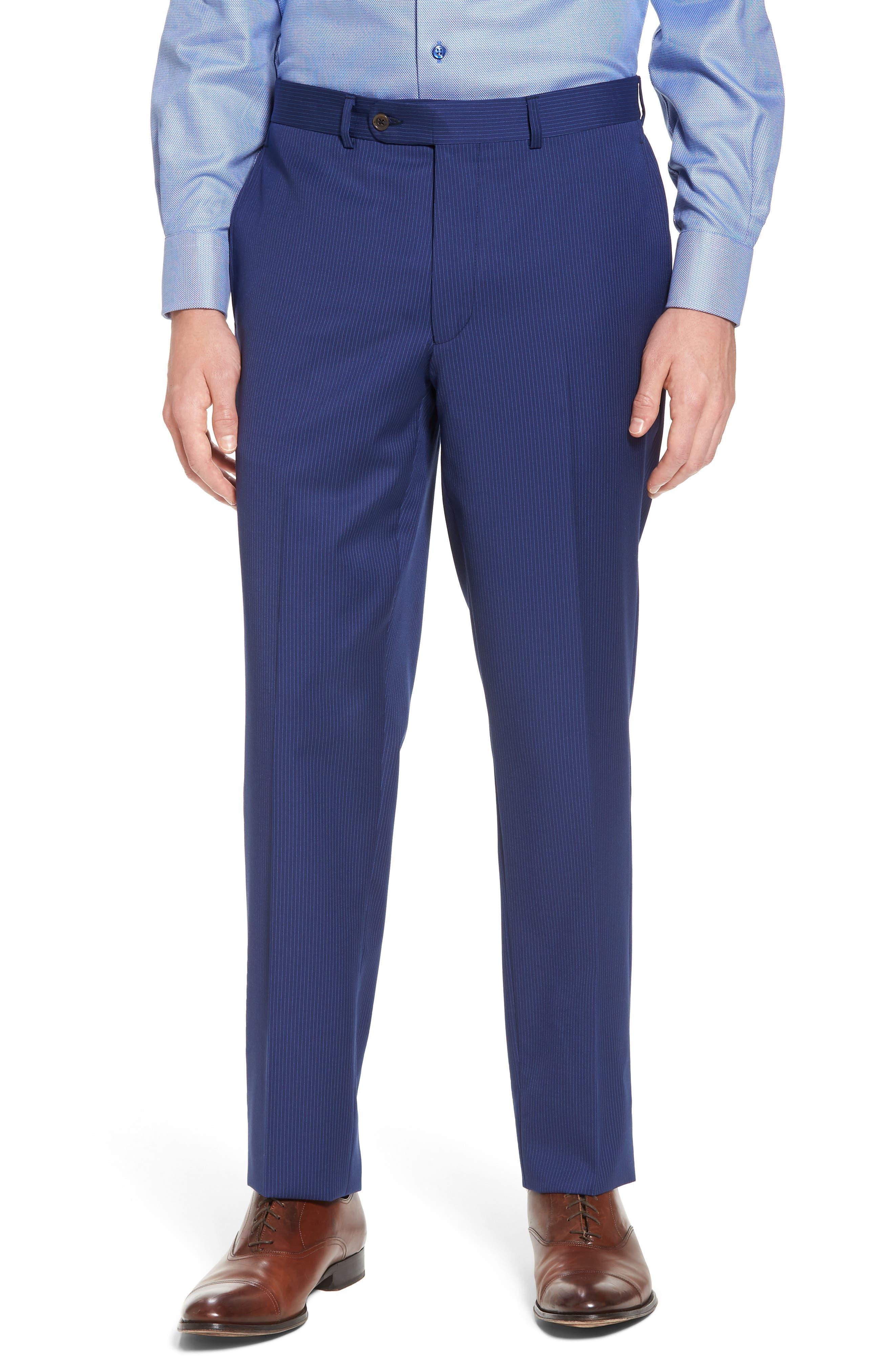 Ryan Classic Fit Stripe Wool Suit,                             Alternate thumbnail 6, color,                             Medium Blue