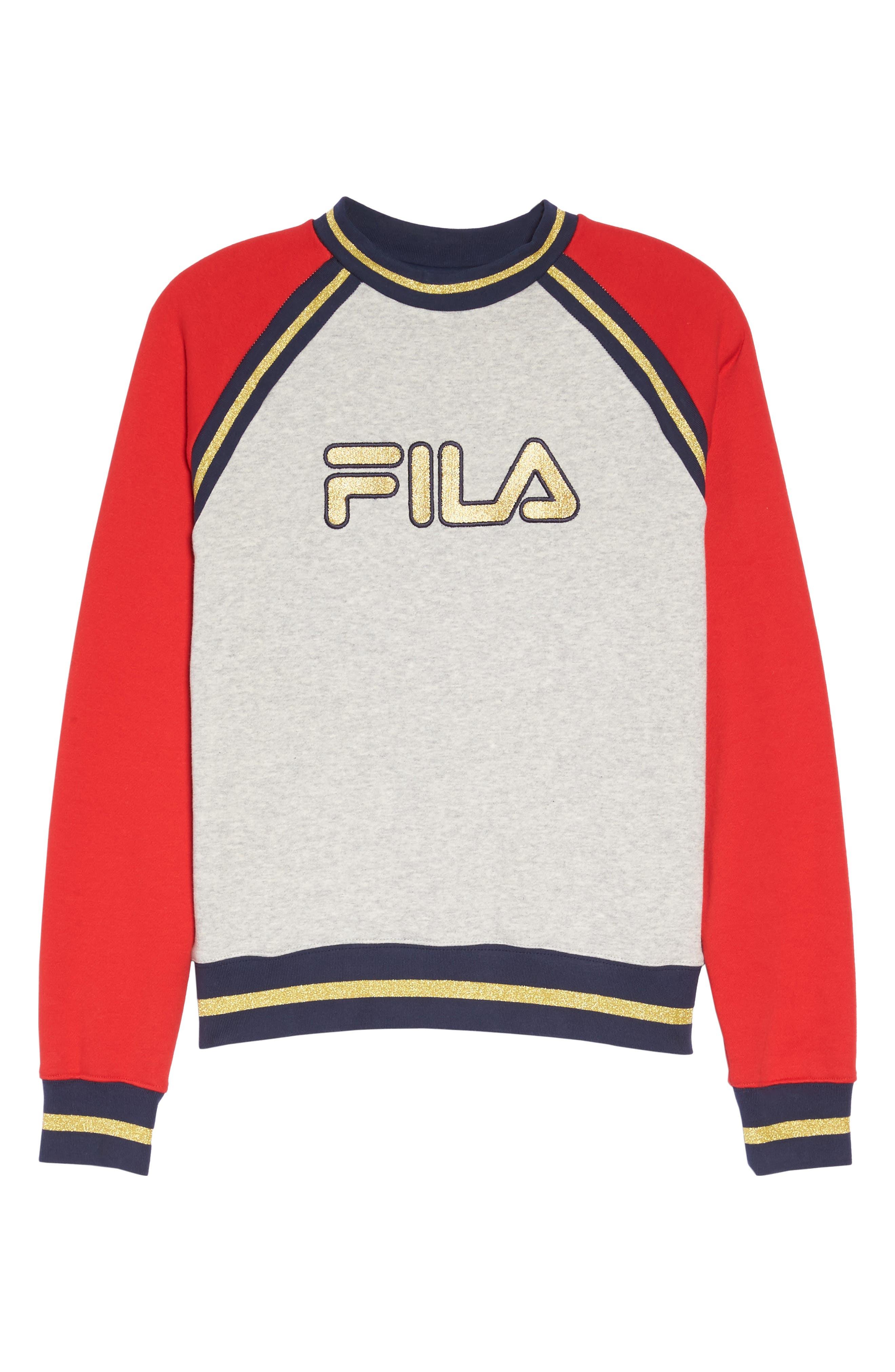 Rafaella Sweatshirt,                             Alternate thumbnail 7, color,                             Light Grey / Peacoat/ Red