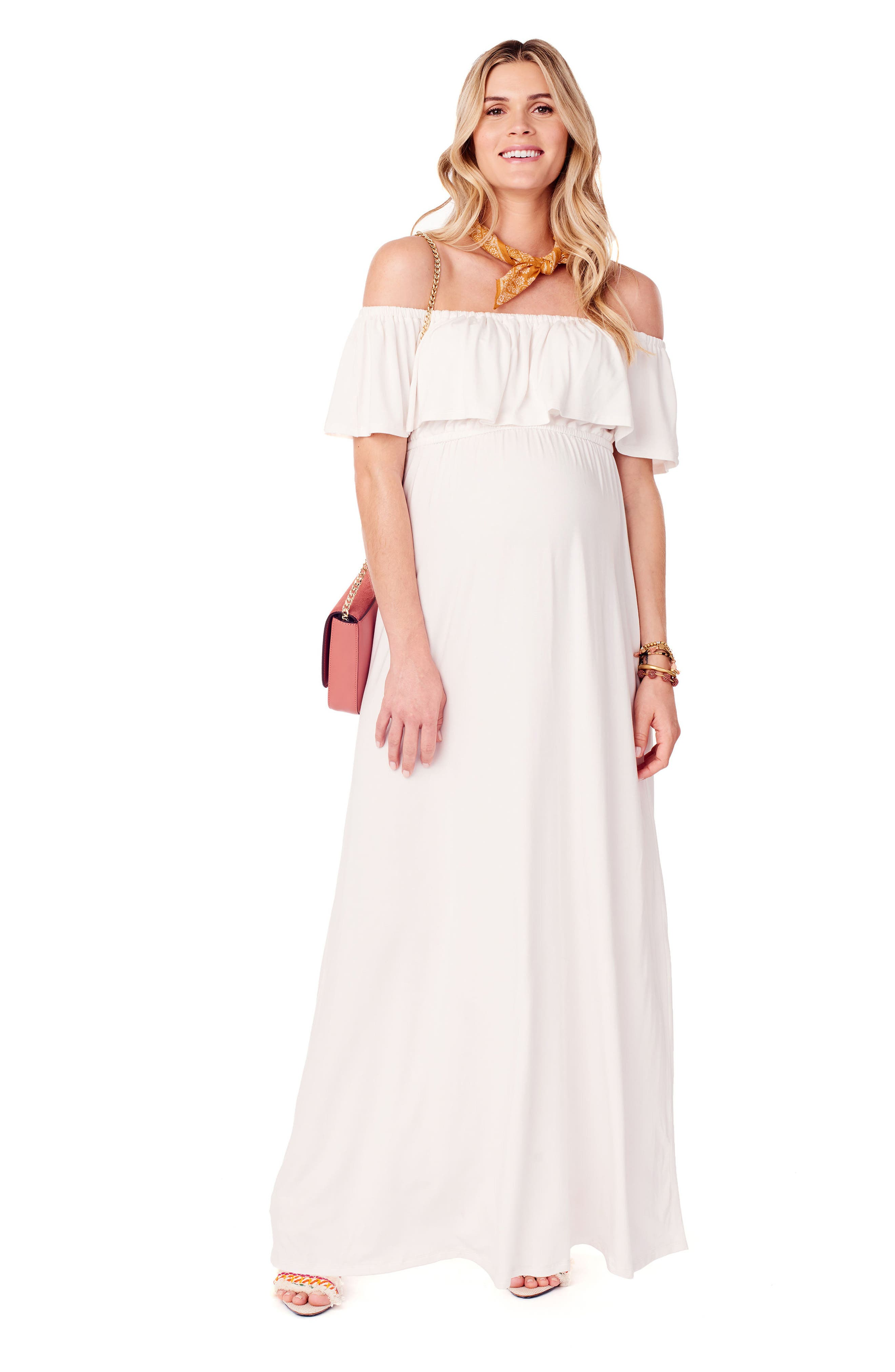 Alternate Image 4  - Ingrid & Isabel® Off the Shoulder Maternity Maxi Dress