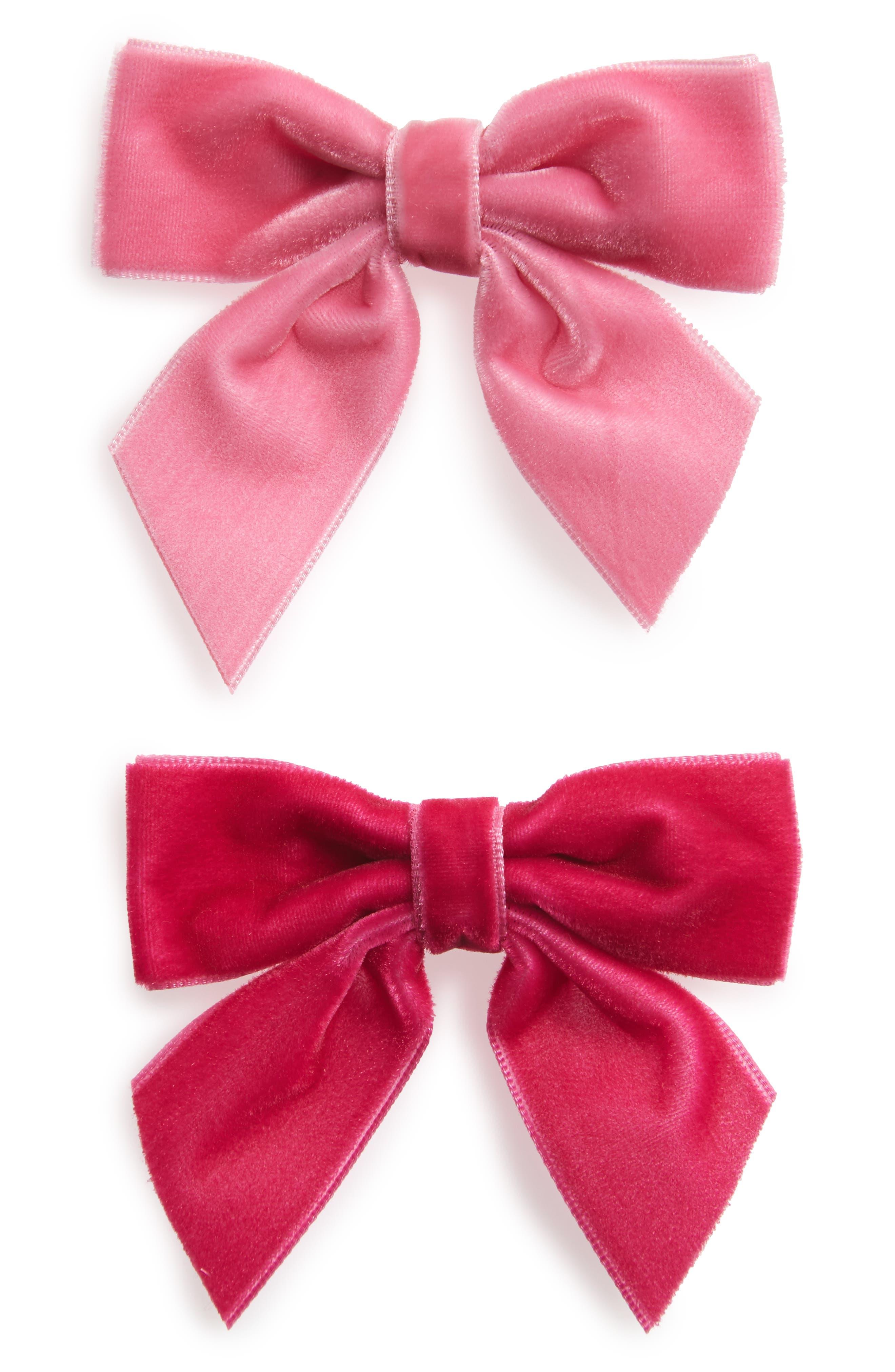 2-Piece Velvet Bow Hair Clip Set,                         Main,                         color, Pink