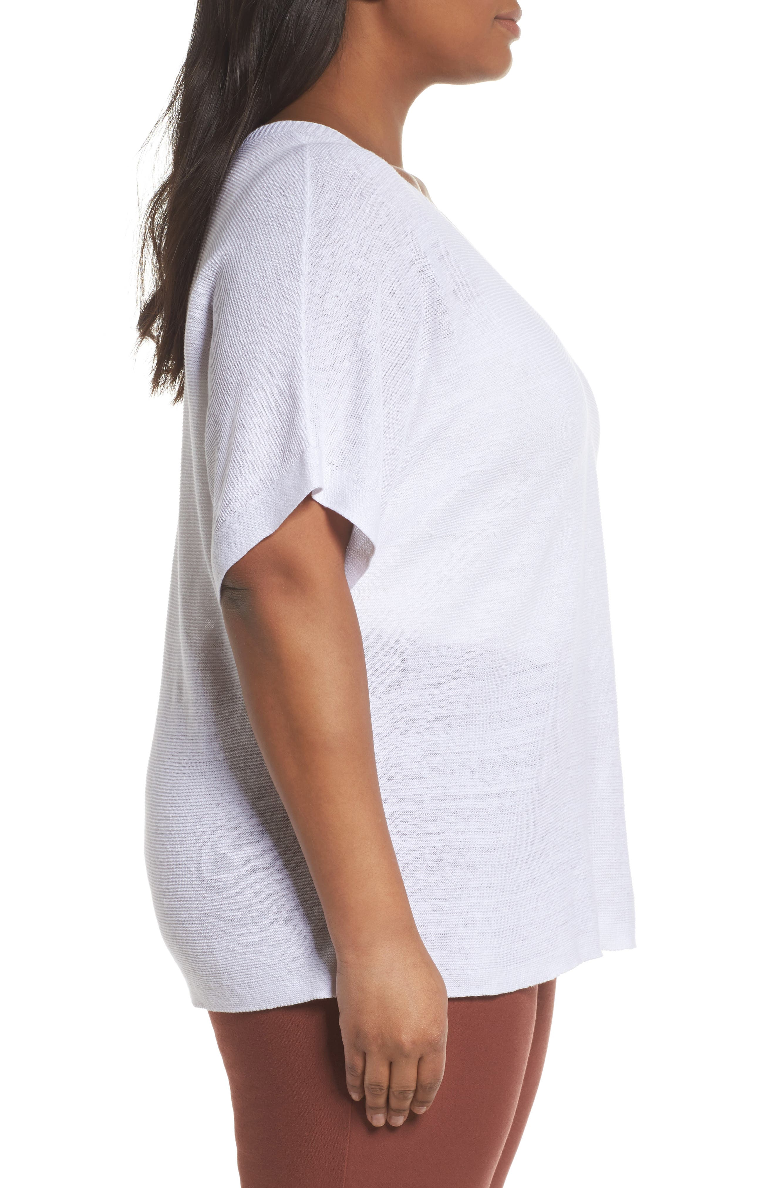 V-Neck Organic Linen Top,                             Alternate thumbnail 3, color,                             White