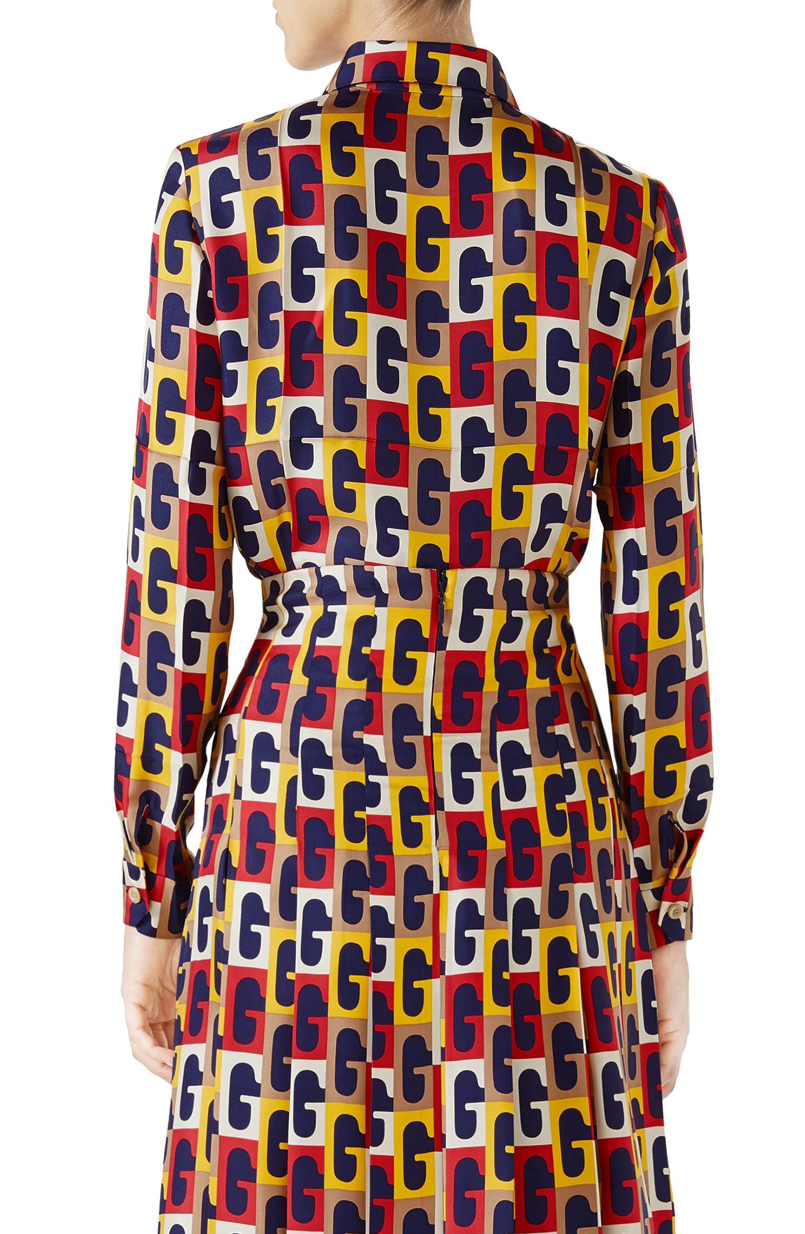 G-Sequence Print Silk Shirt,                             Alternate thumbnail 2, color,                             Ivory/ Yellow/ Red Print