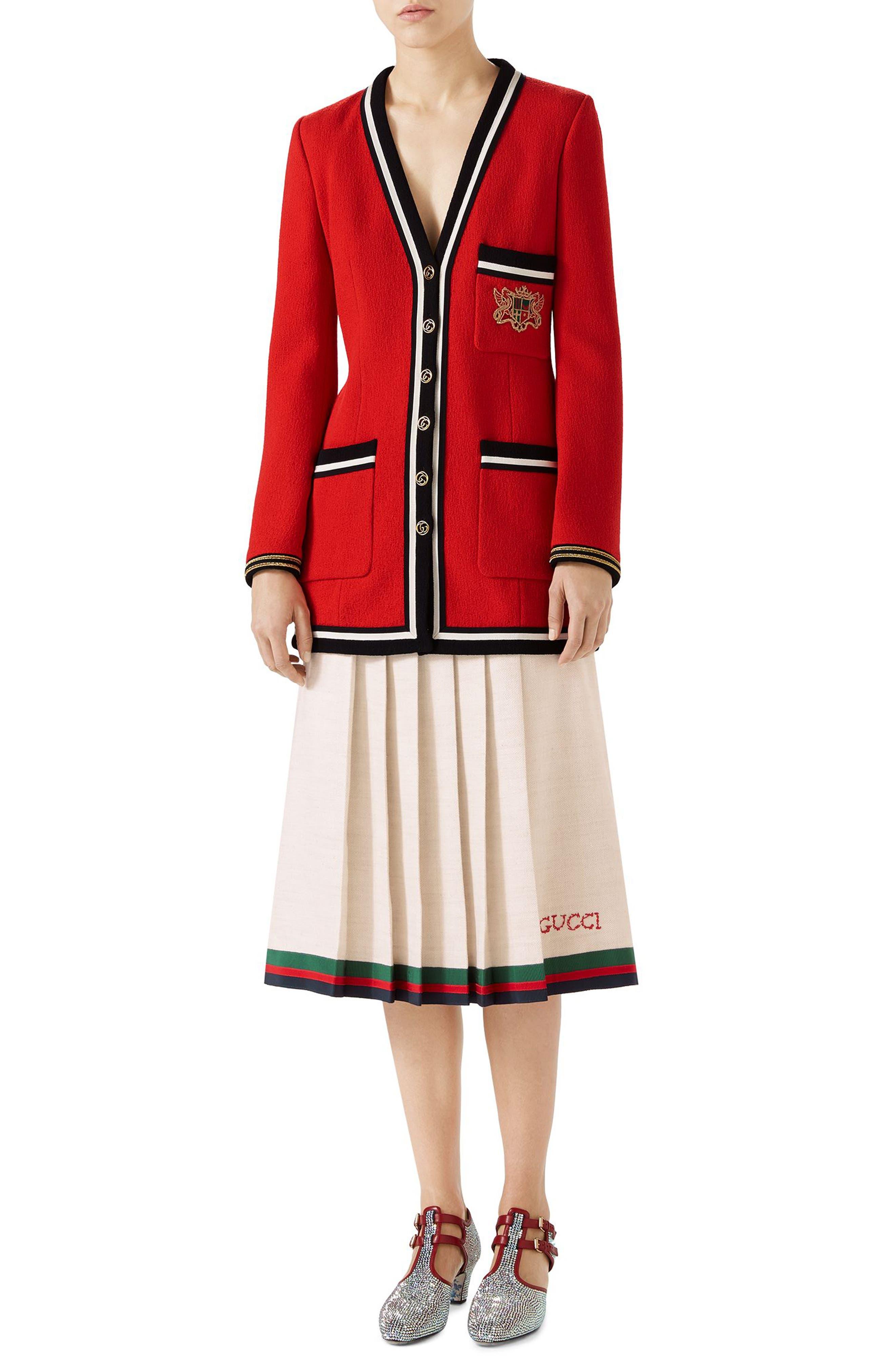 Pleated Linen & Silk Skirt,                             Alternate thumbnail 3, color,                             Gardenia/ B/ R/ V