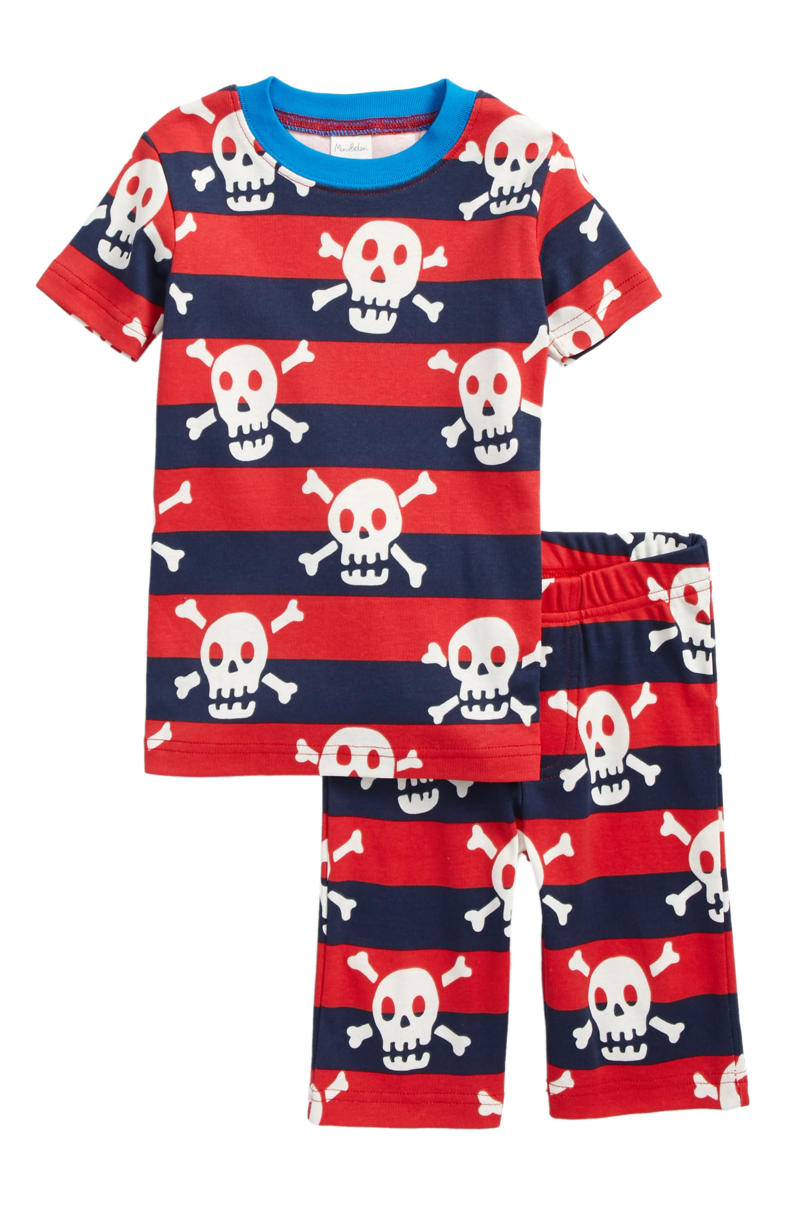 Glow in the Dark Fitted Two-Piece Pajamas,                         Main,                         color, Salsa Red/School Navy