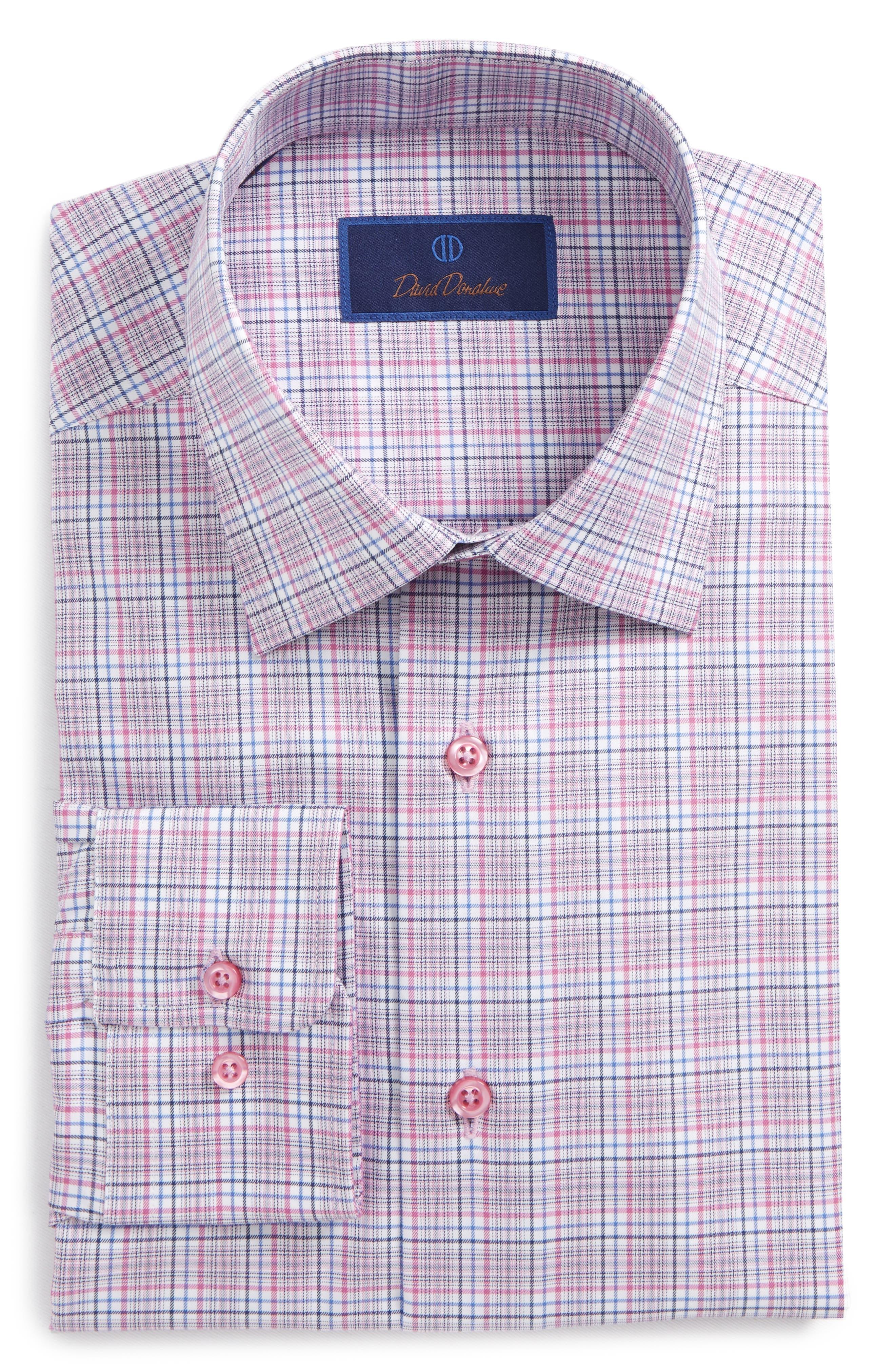 Regular Fit Plaid Dress Shirt,                         Main,                         color, Berry