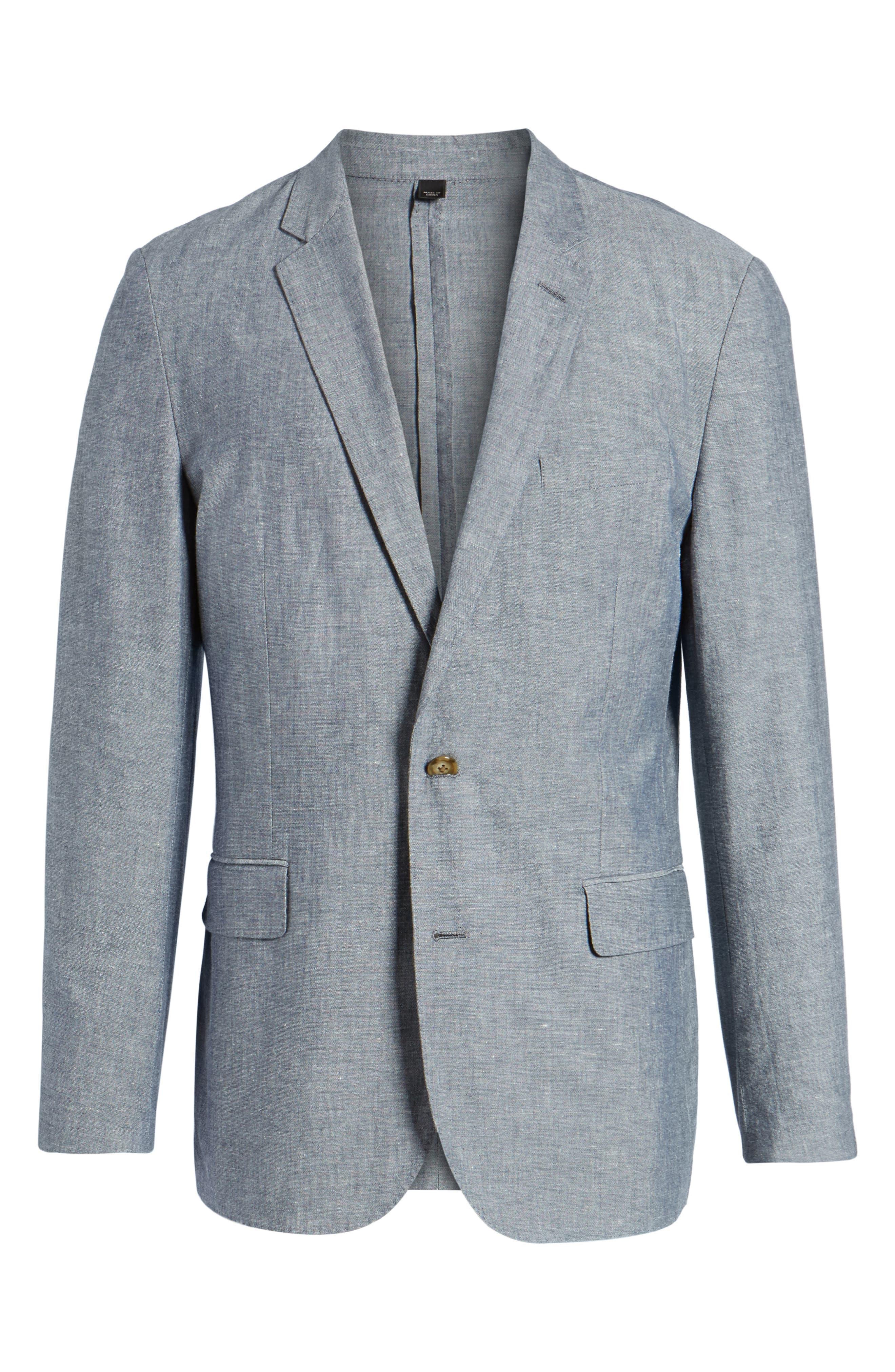 Ludlow Cotton & Linen Blazer,                             Alternate thumbnail 6, color,                             Deep Water Blue