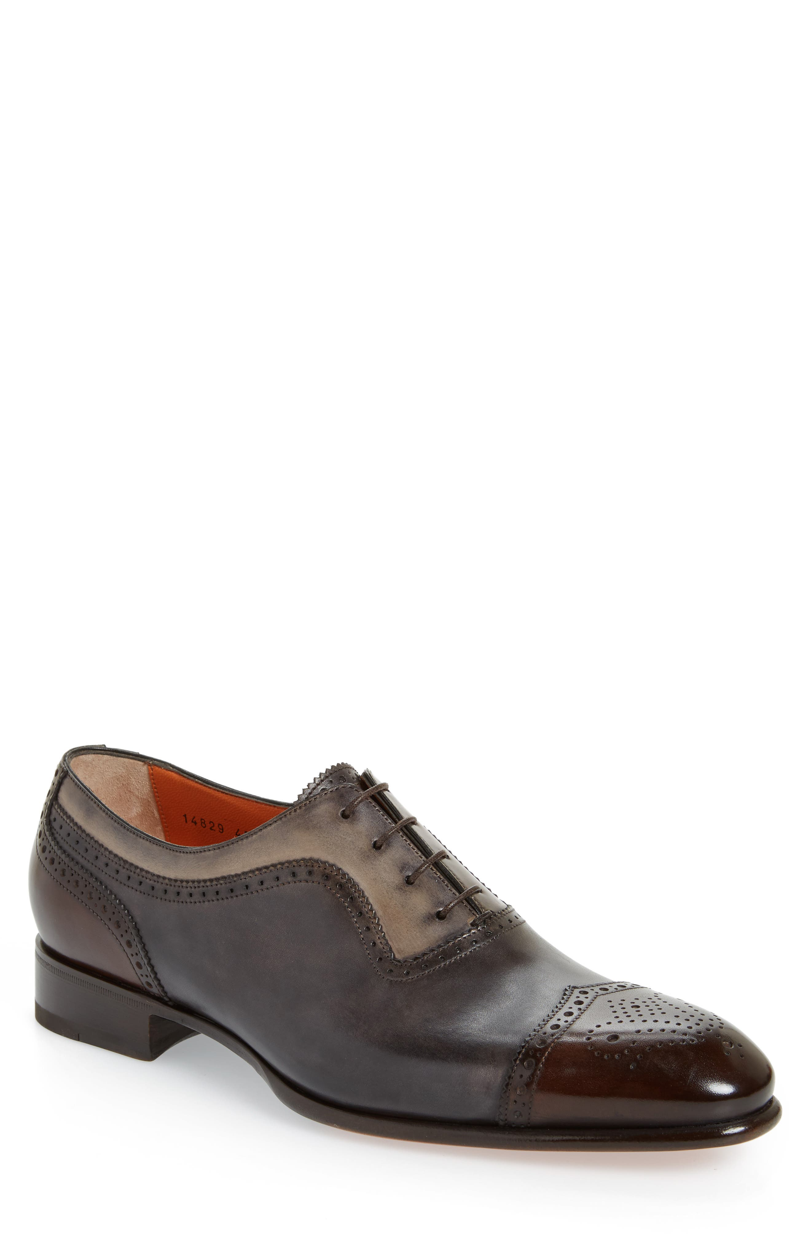 Santoni Fatte-A-Mano Medallion Toe Oxford (Men)