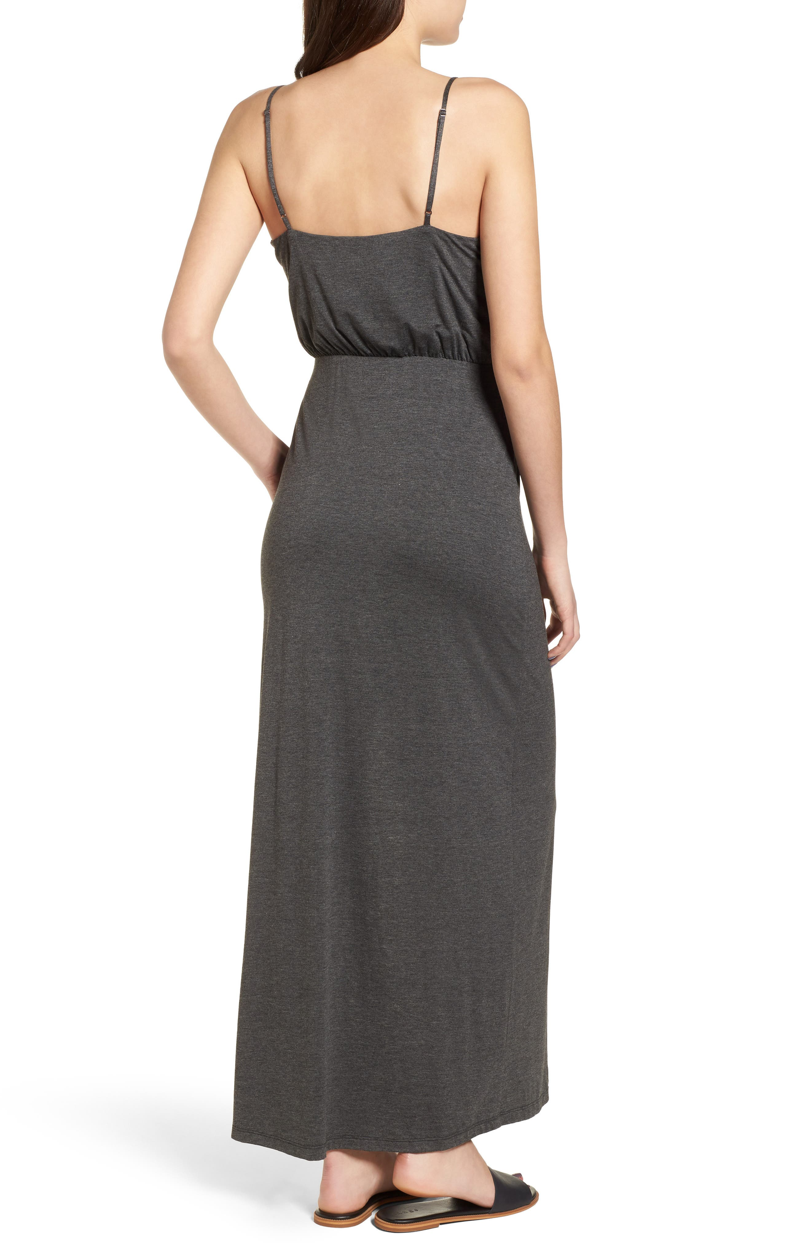 Knit Maxi Dress,                             Alternate thumbnail 2, color,                             Heather Charcoal
