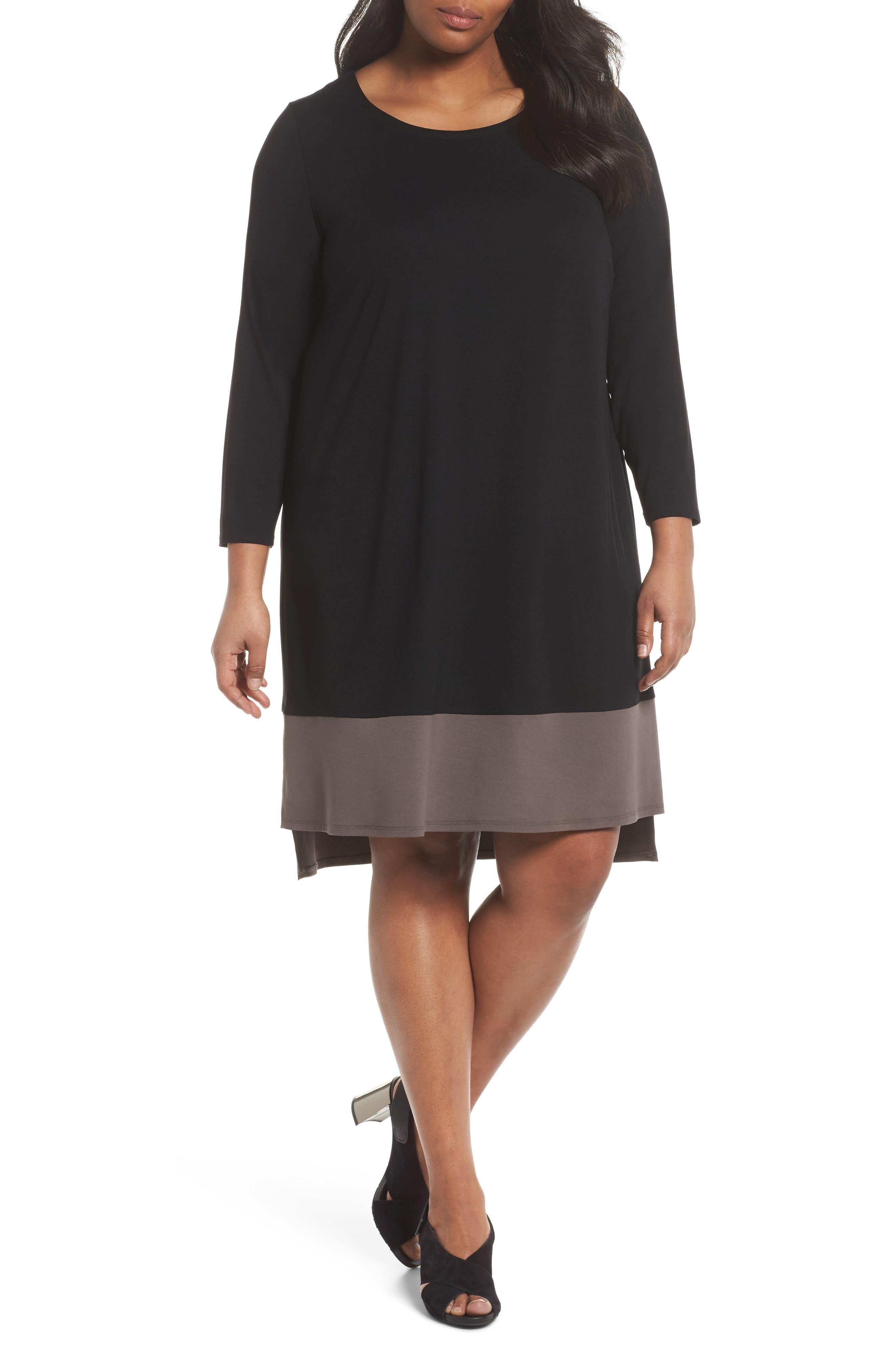 Colorblock Jersey Shift Dress,                         Main,                         color, Black