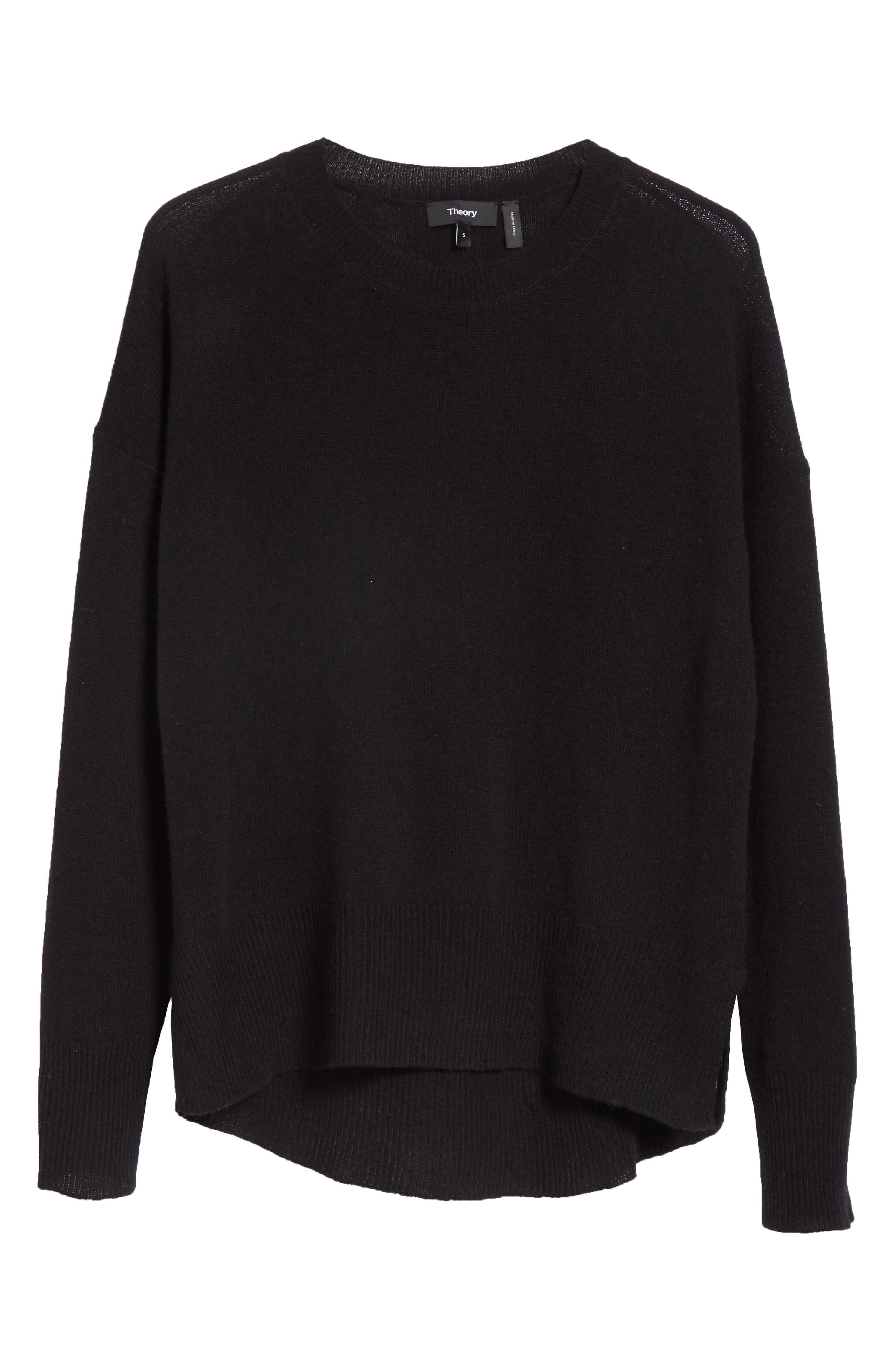Karenia L Cashmere Sweater,                             Alternate thumbnail 5, color,                             Black