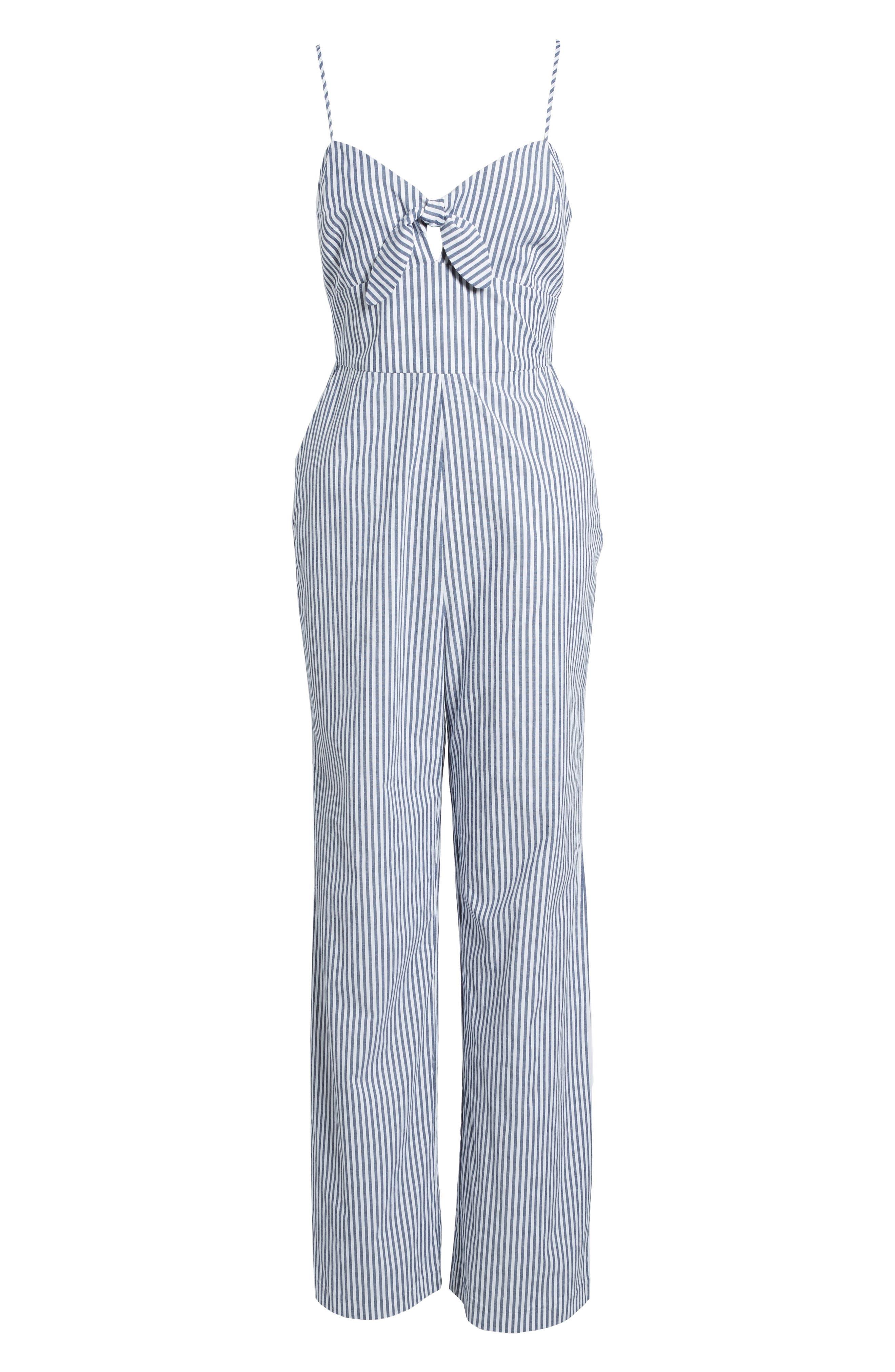 Tie Front Jumpsuit,                             Alternate thumbnail 6, color,                             Blue-White Stripe