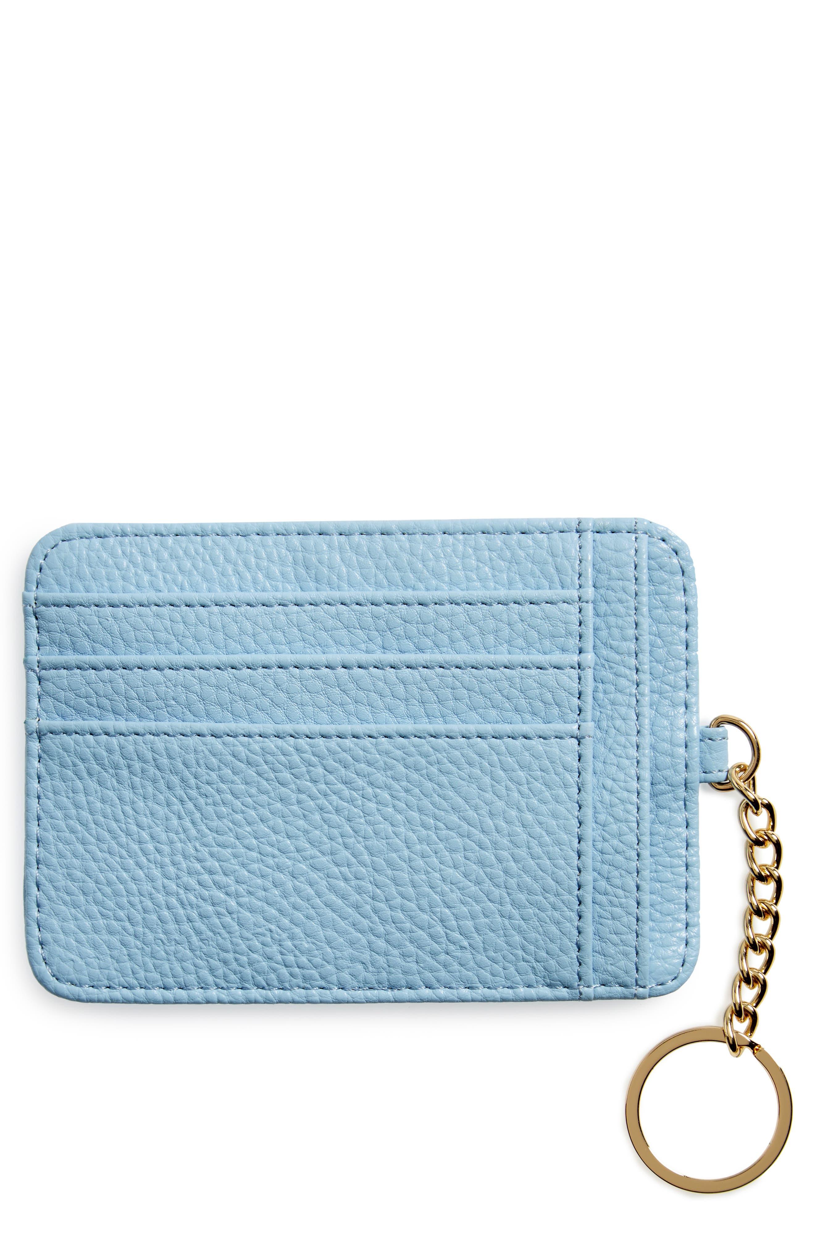 Faux Leather Card Case,                             Main thumbnail 1, color,                             Blue