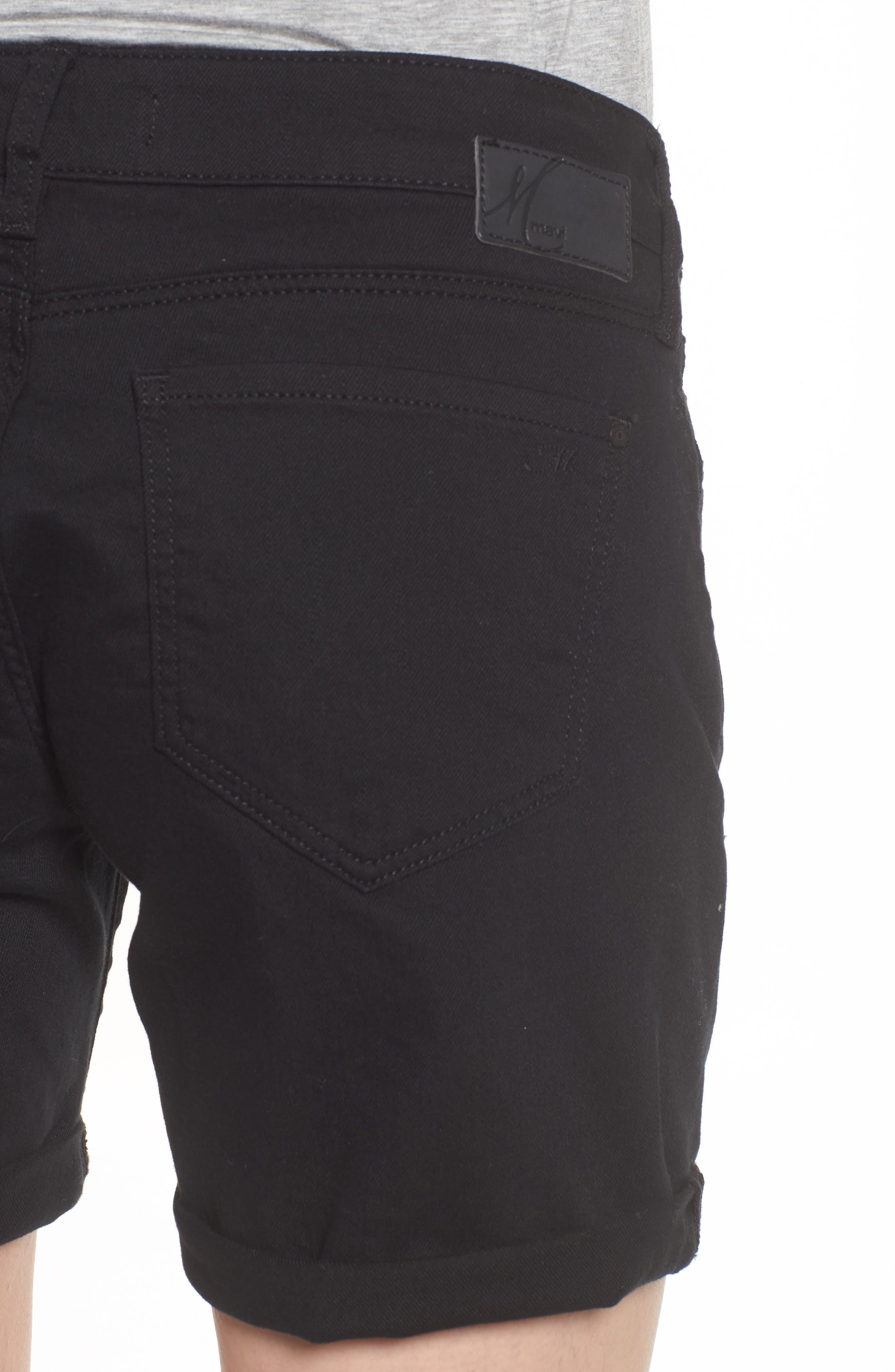 Alternate Image 4  - Mavi Pixie Roll Cuff Denim Shorts (Black Nolita)