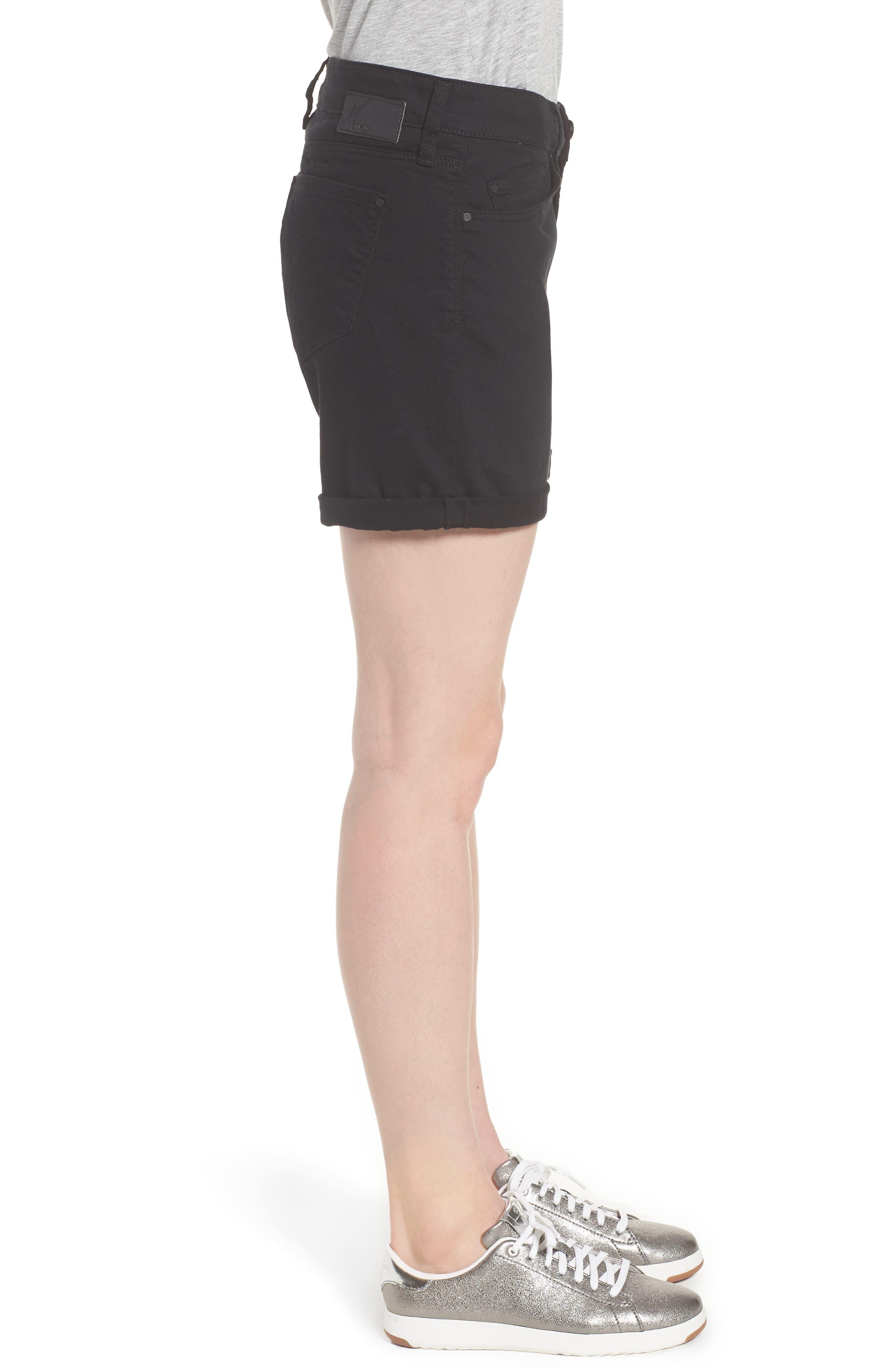 Alternate Image 3  - Mavi Pixie Roll Cuff Denim Shorts (Black Nolita)