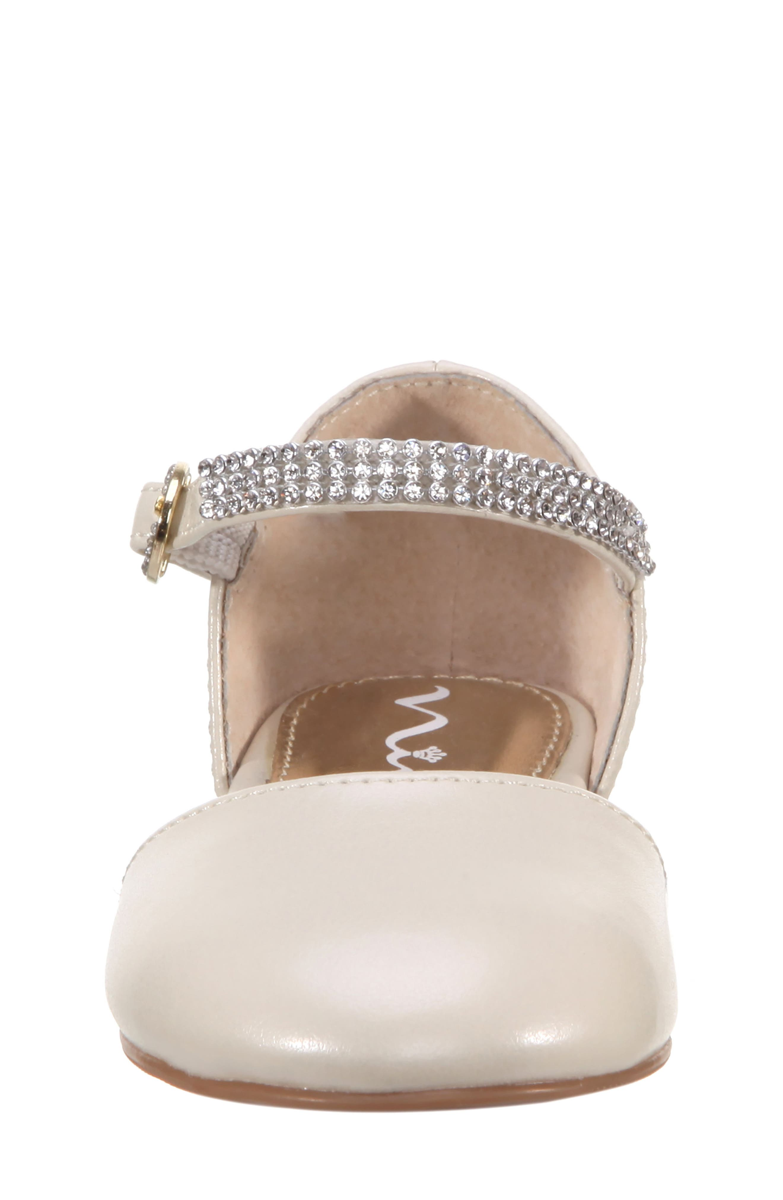 Cara Crystal Embellished d'Orsay Sandal,                             Alternate thumbnail 4, color,                             Bone Pearlized