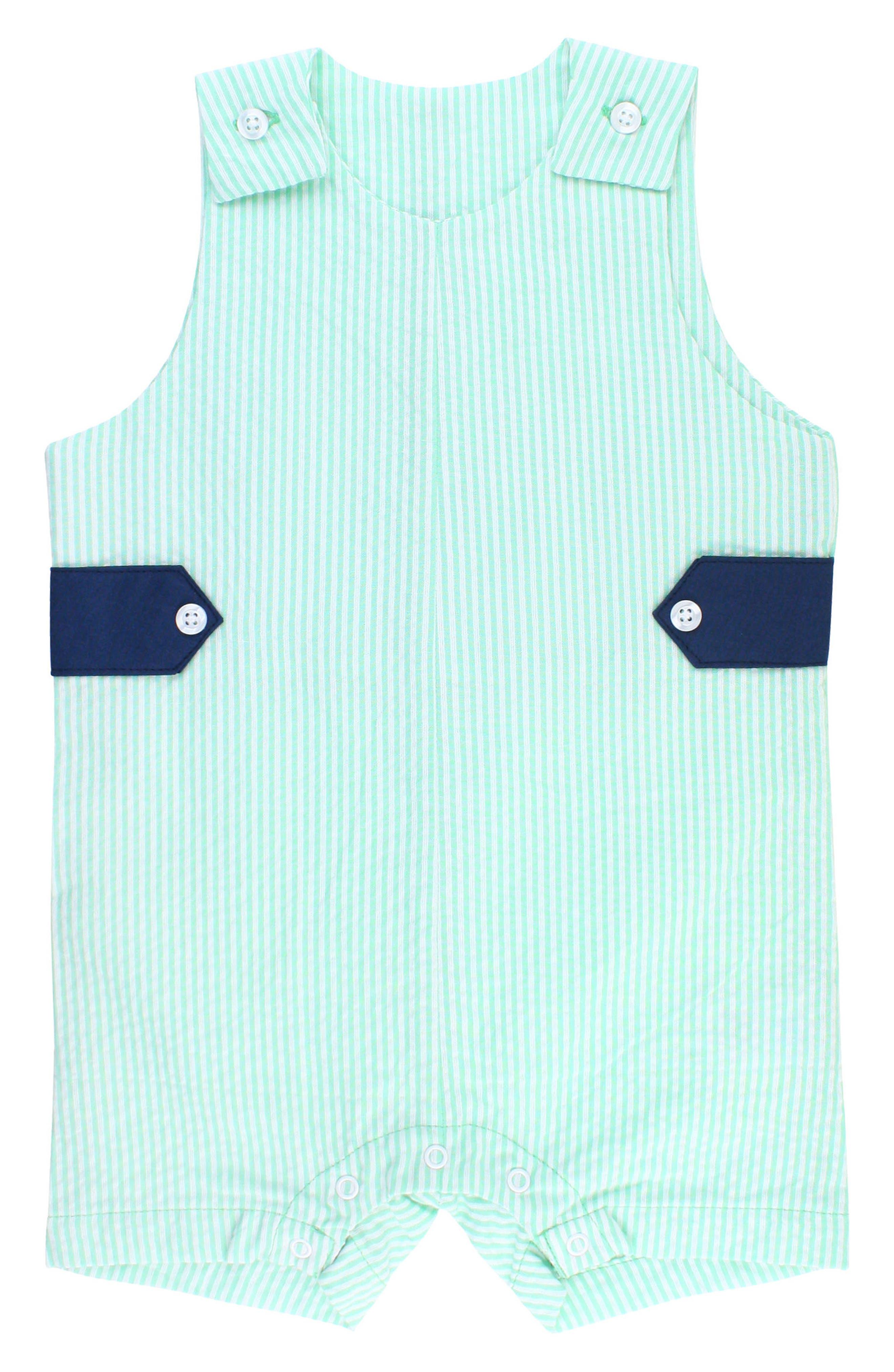 Seersucker Stripe Overalls,                         Main,                         color, Green