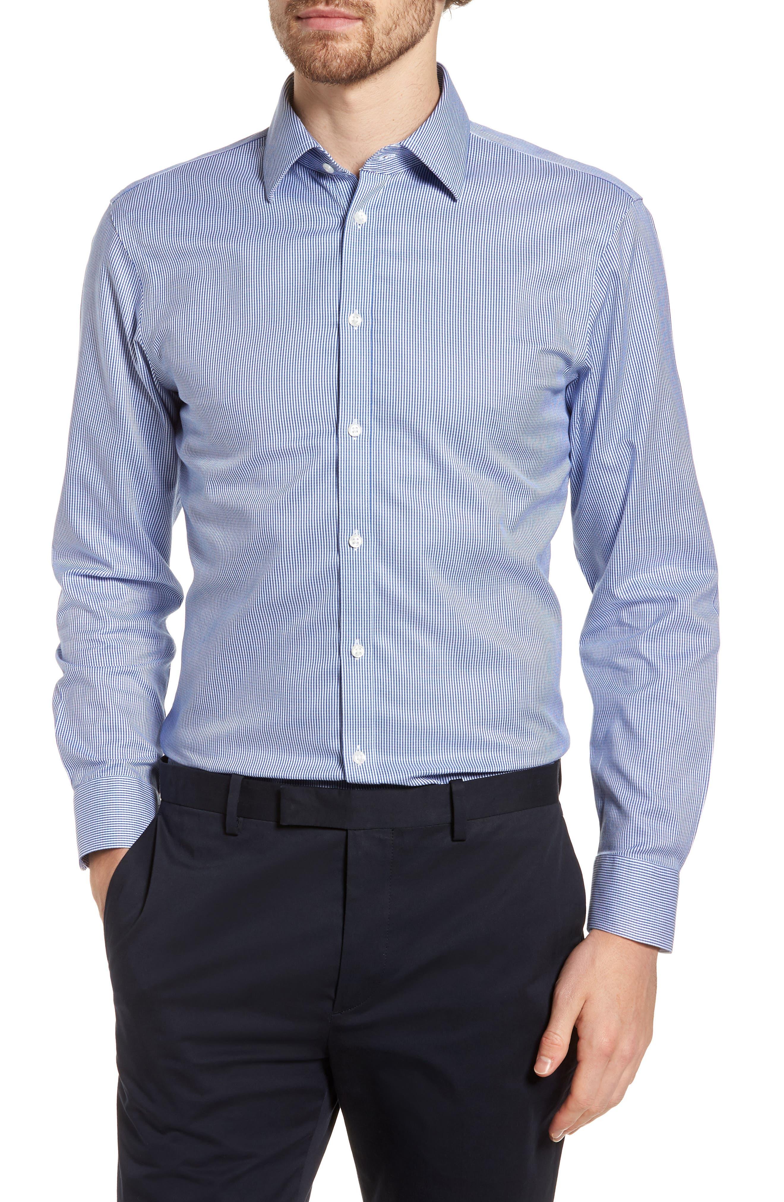 Smartcare<sup>™</sup> Extra Trim Fit Stripe Dress Shirt,                         Main,                         color, Navy Print