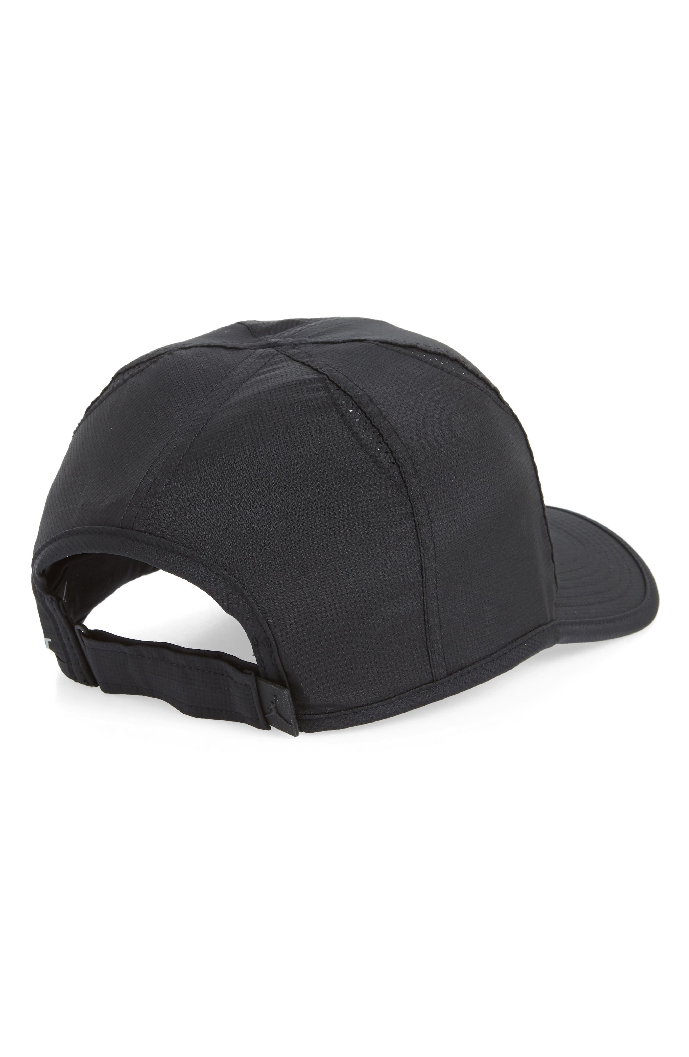 Jordan Featherlight Baseball Cap,                             Alternate thumbnail 2, color,                             Black/ Black