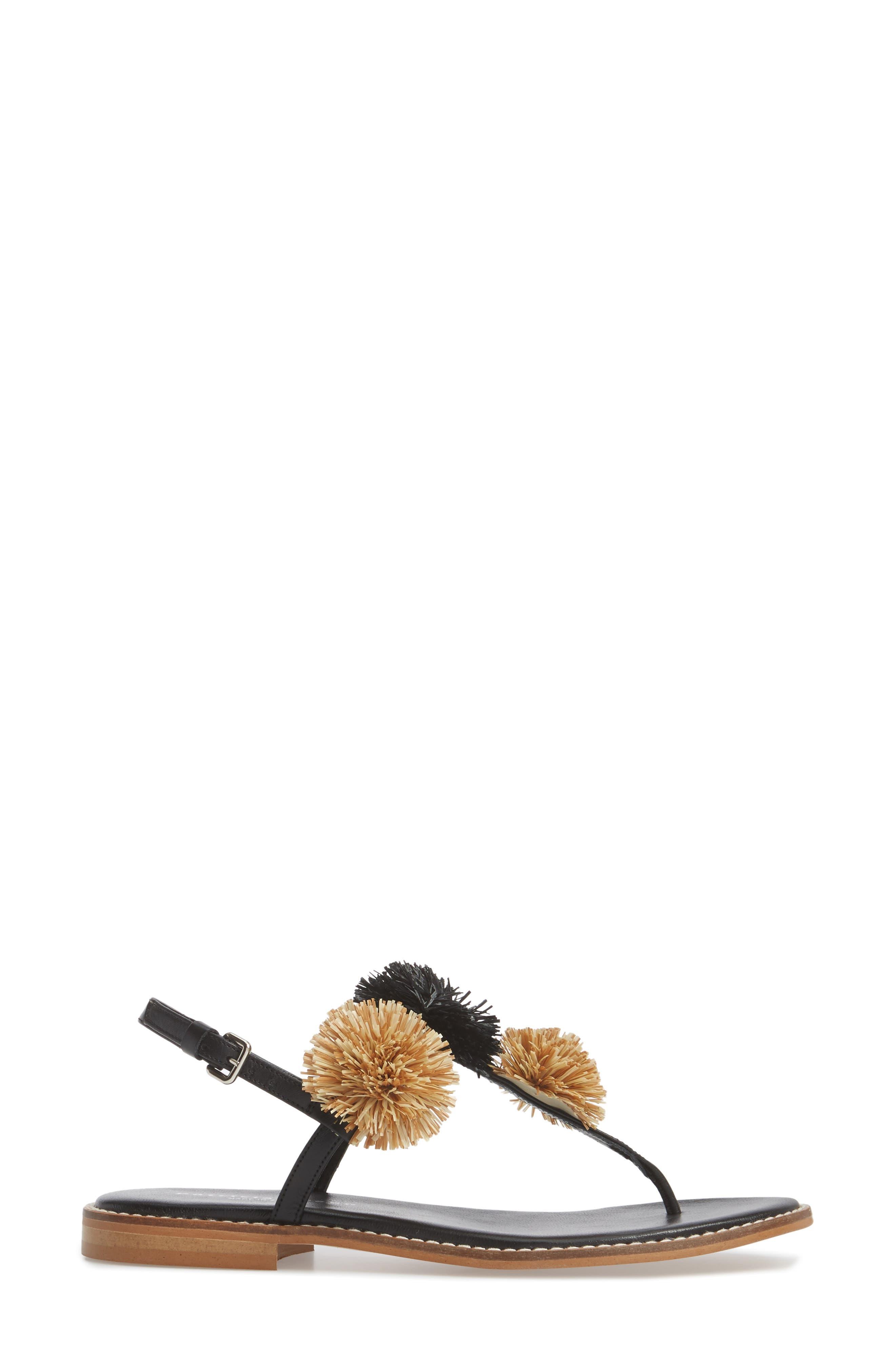 Pompom Thong Sandal,                             Alternate thumbnail 3, color,                             Black Leather