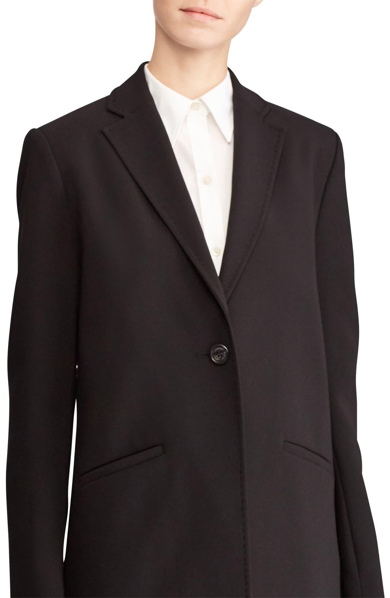 Crepe Reefer Coat,                             Alternate thumbnail 4, color,                             Black