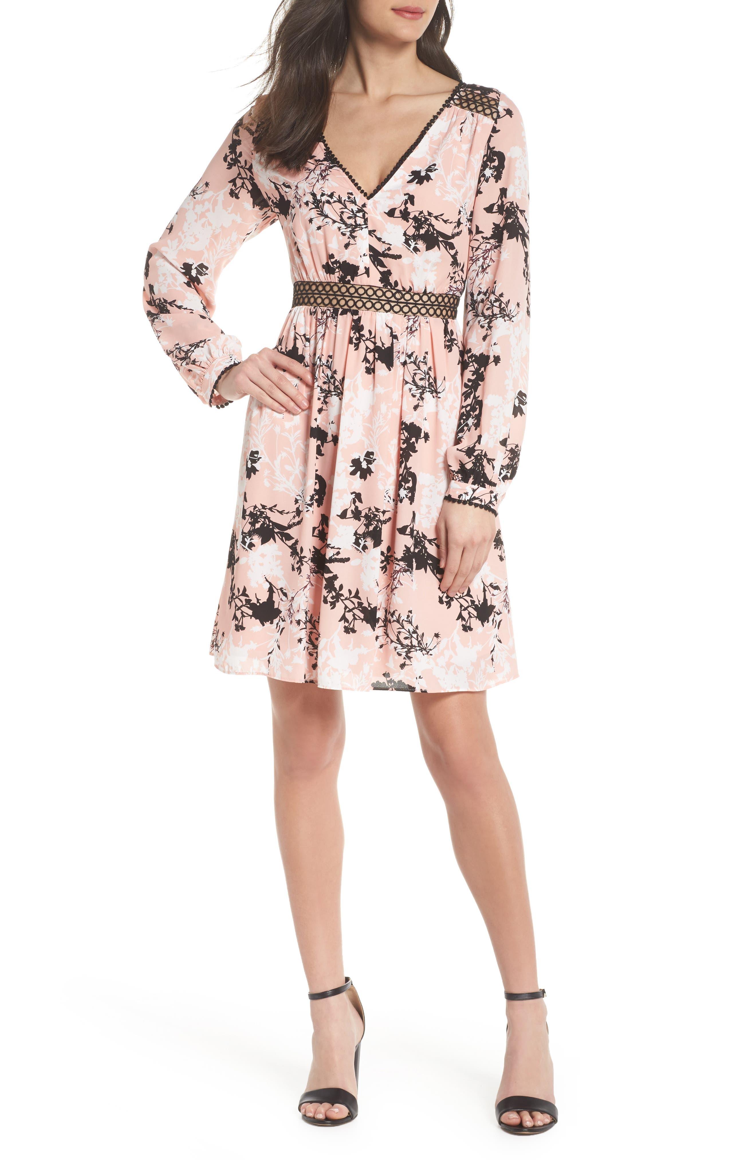 Print Babydoll Dress,                         Main,                         color, Blush Linaria