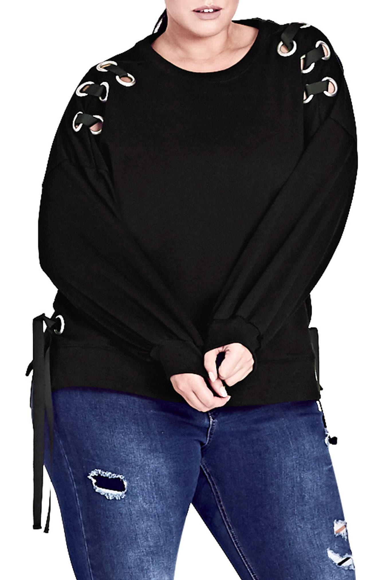 Ring Tie Stretch Cotton Top,                             Main thumbnail 1, color,                             Black