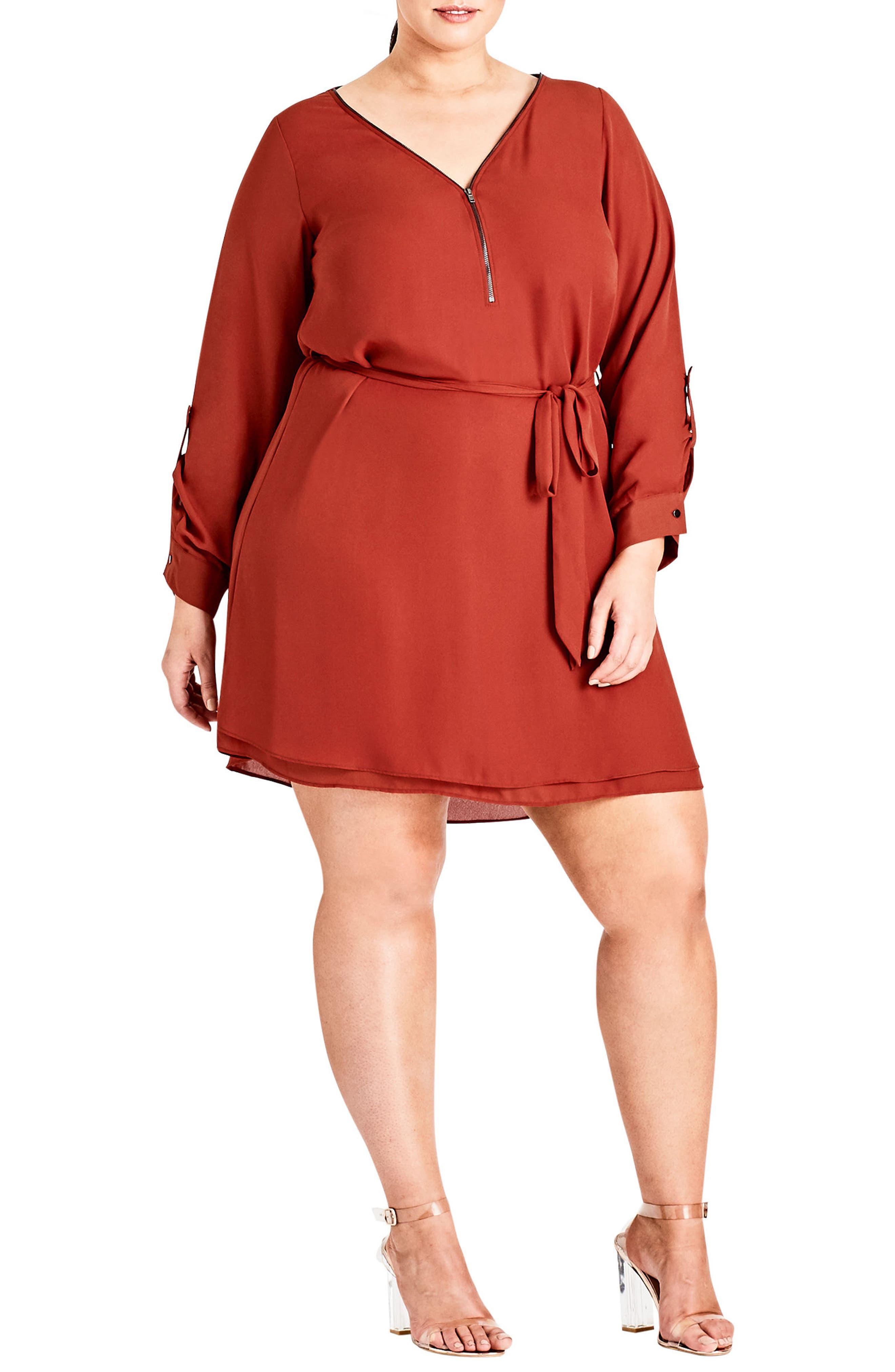 Zip Tunic Dress,                             Main thumbnail 1, color,                             Rust