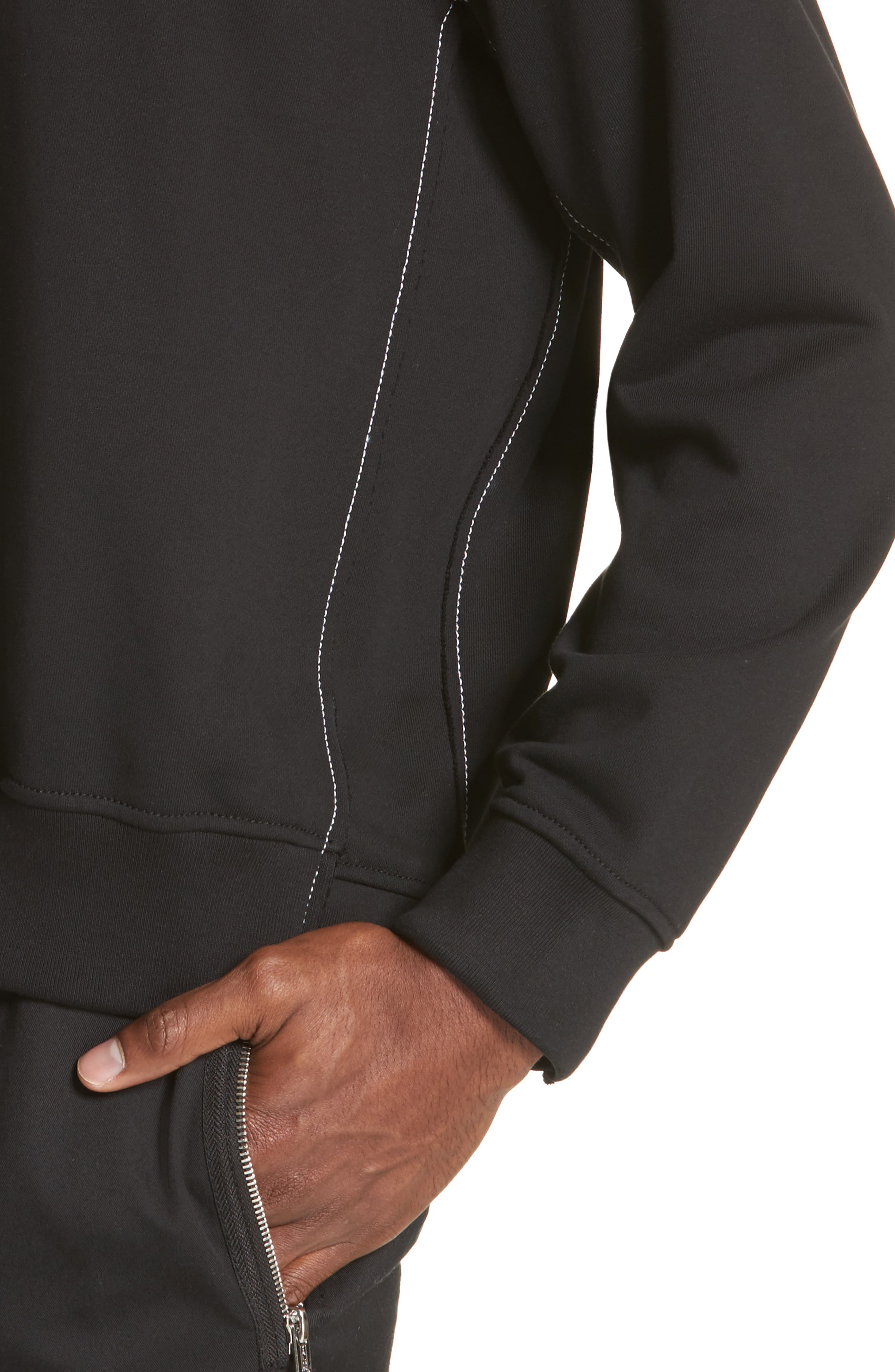 Reconstructed Crewneck Sweatshirt,                             Alternate thumbnail 4, color,                             Black