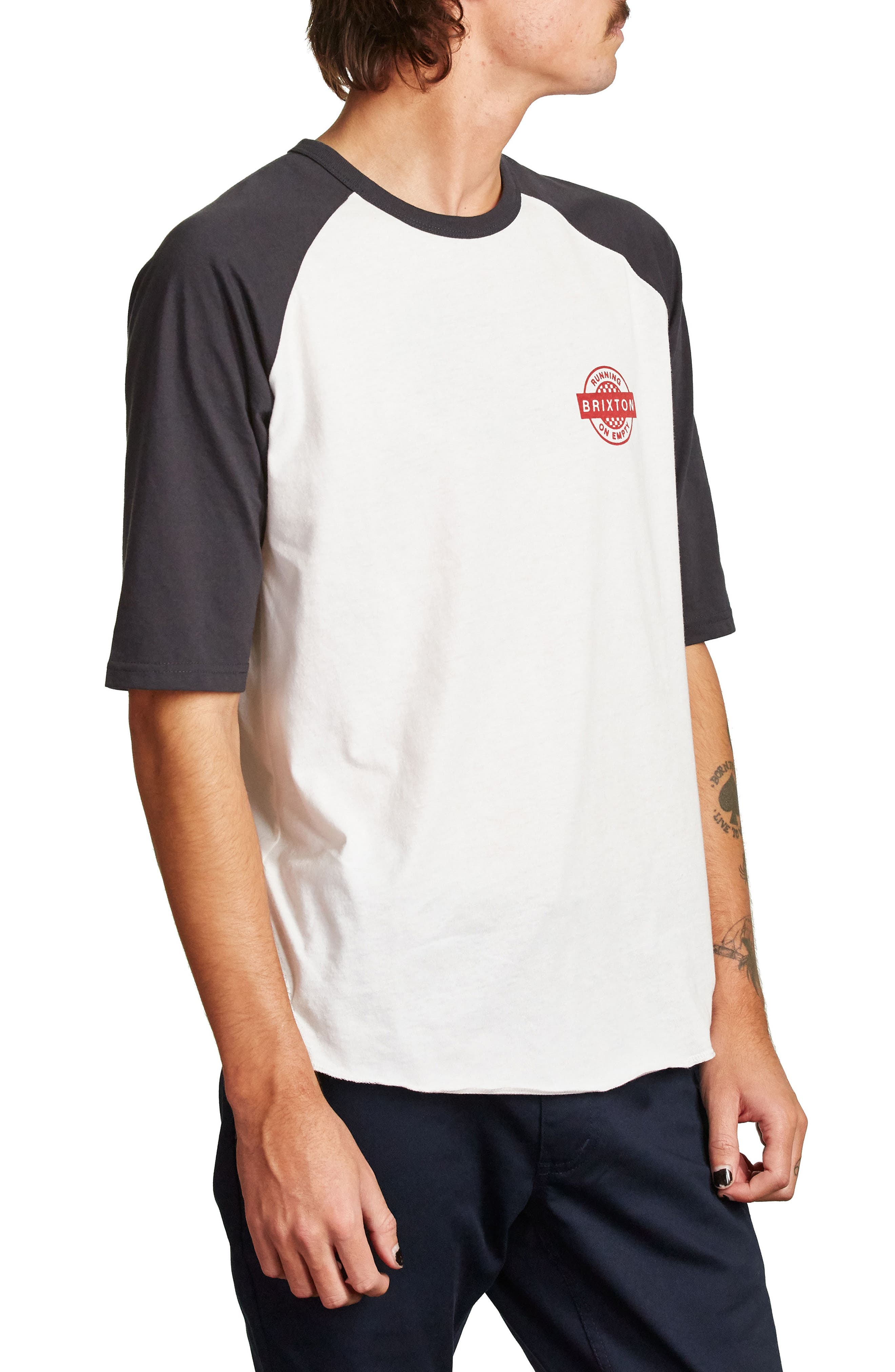 Speedway Half Sleeve T-Shirt,                             Alternate thumbnail 2, color,                             Off White/ Washed Black
