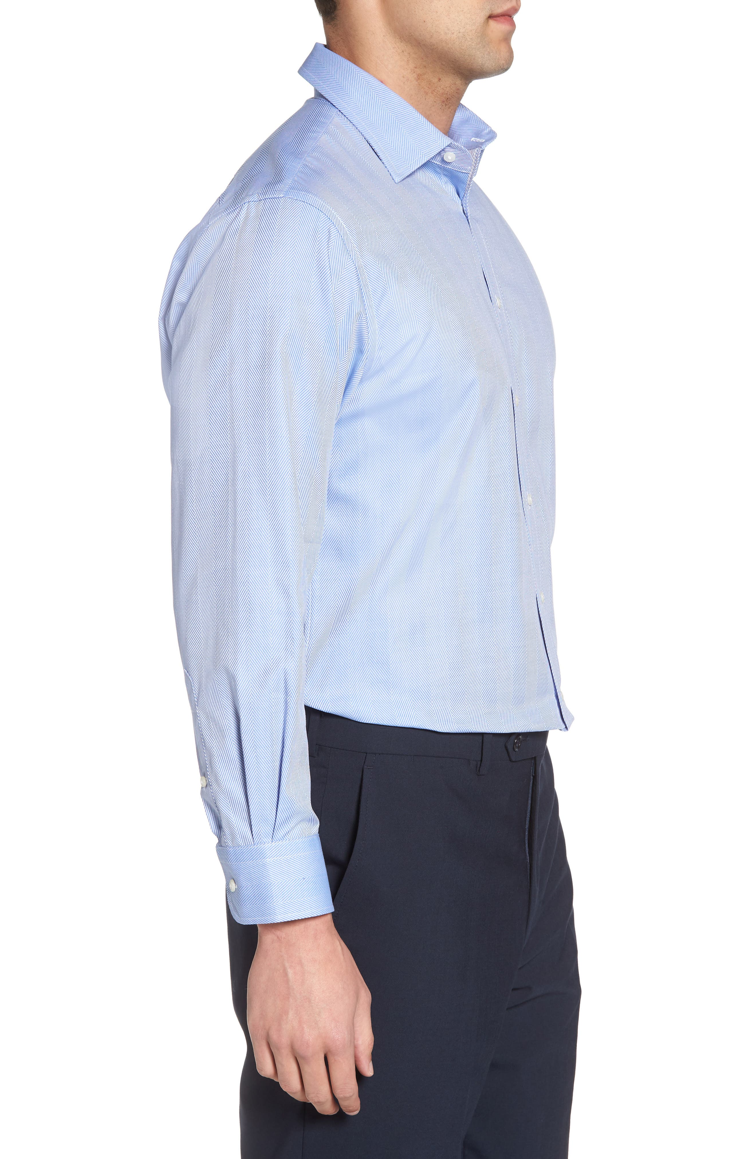Alternate Image 3  - Nordstrom Men's Shop Traditional Fit Herringbone Dress Shirt