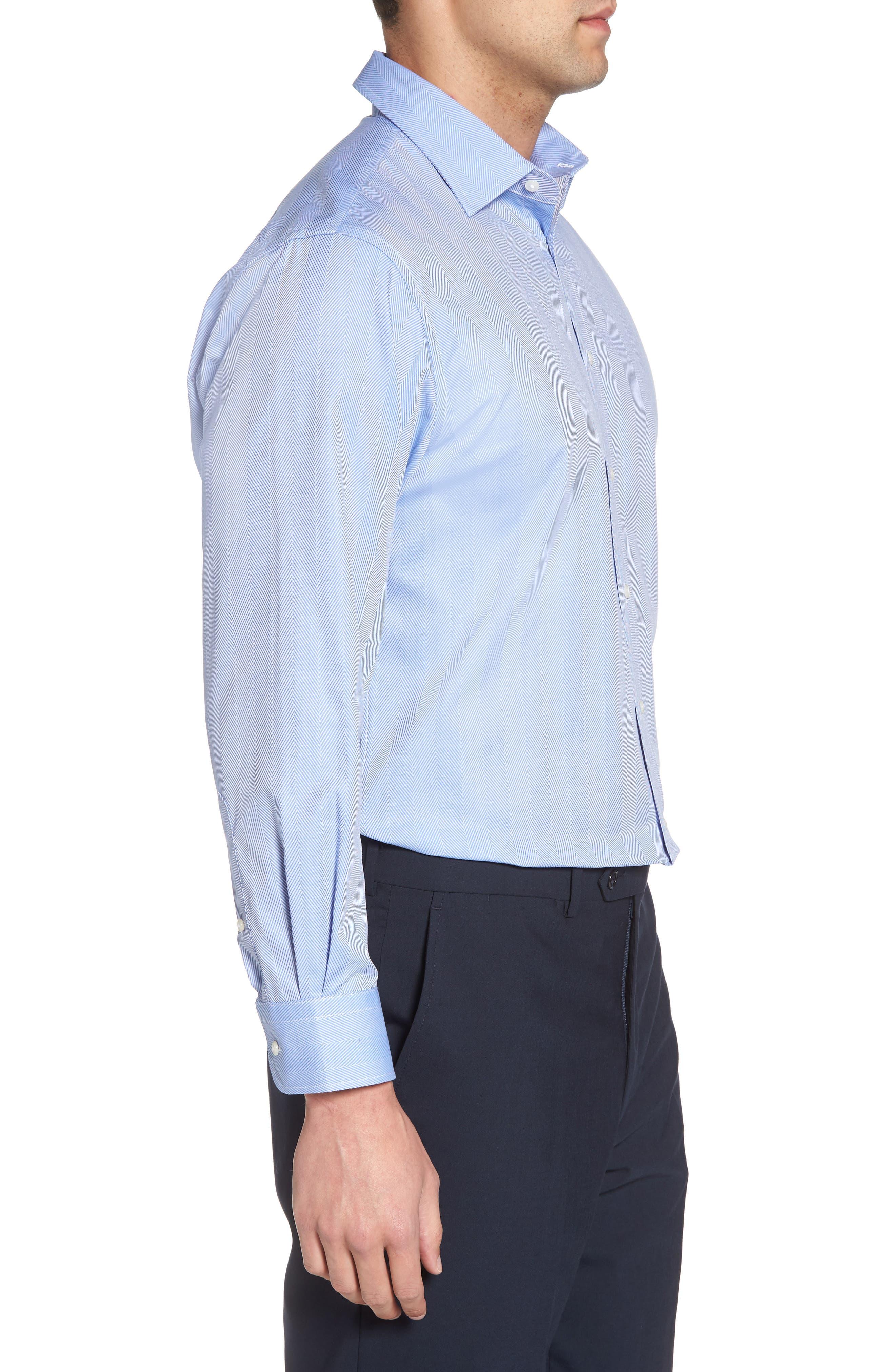 Traditional Fit Herringbone Dress Shirt,                             Alternate thumbnail 4, color,                             Blue Provence